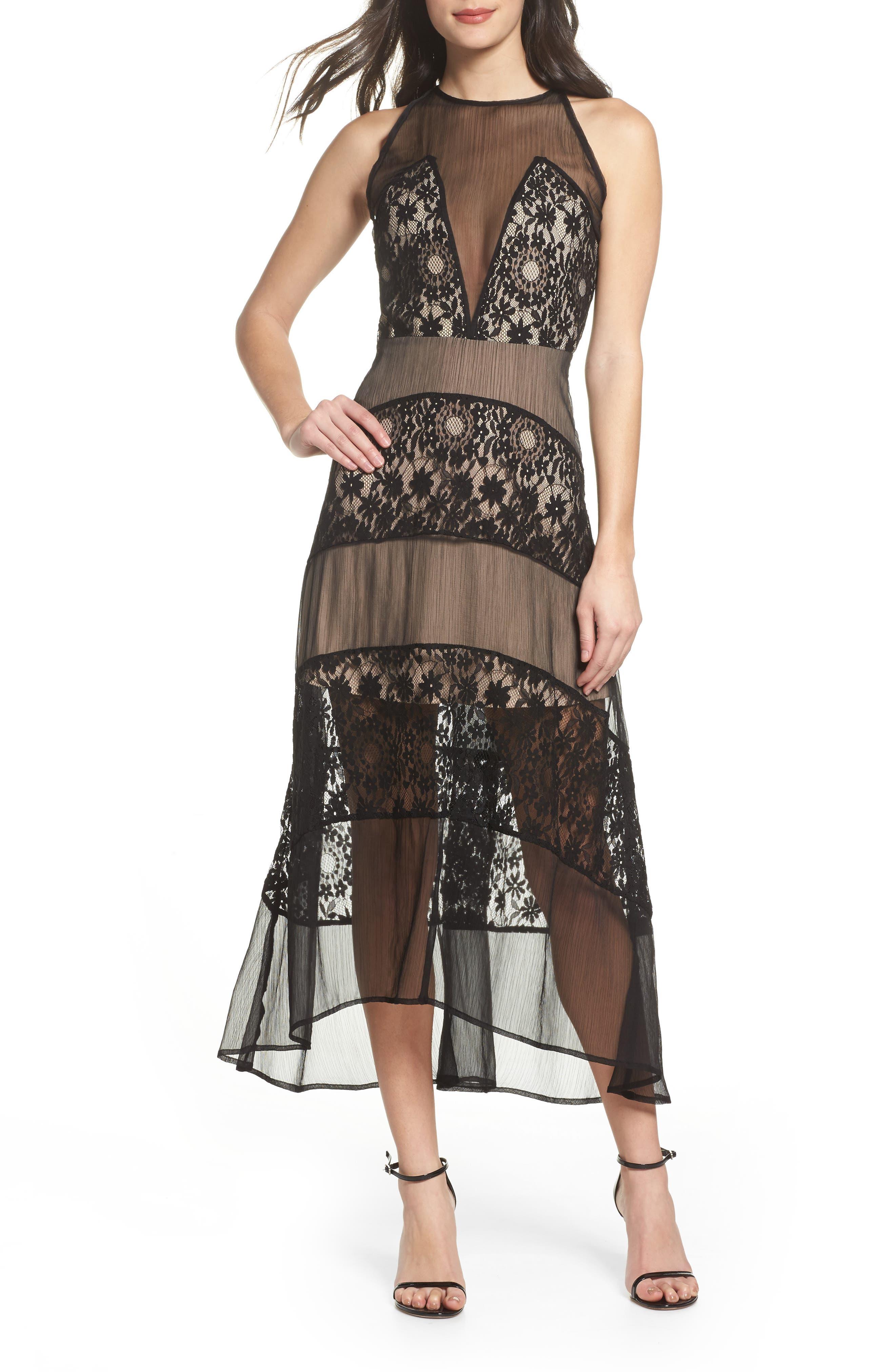 Tristan Lace & Chiffon Maxi Dress,                         Main,                         color, 001