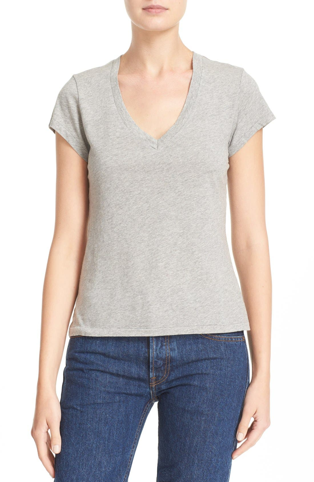 x Hanes '1960s Slim' V-Neck Tee,                             Main thumbnail 1, color,