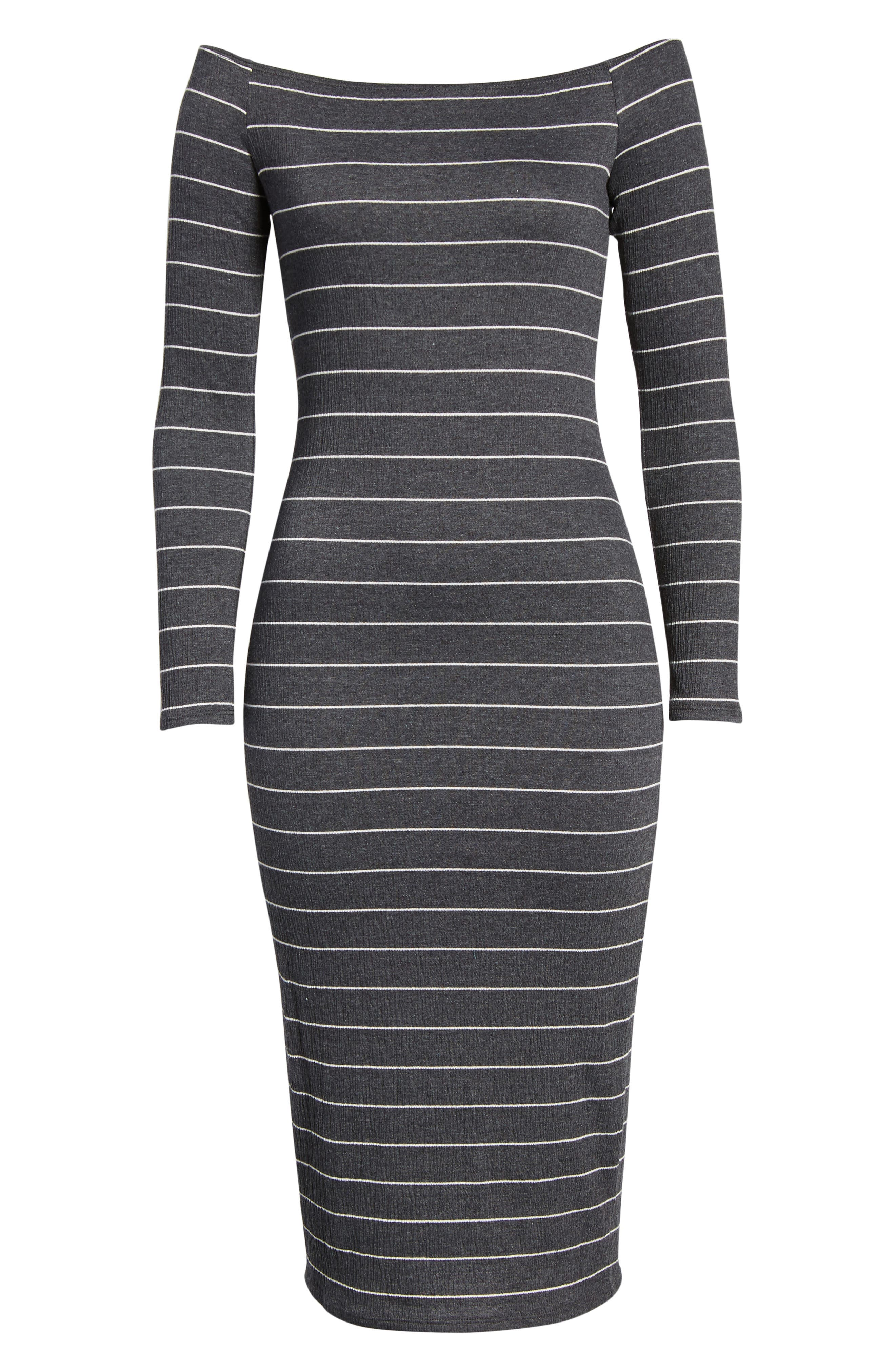 Stripe Off the Shoulder Midi Dress,                             Alternate thumbnail 6, color,                             020