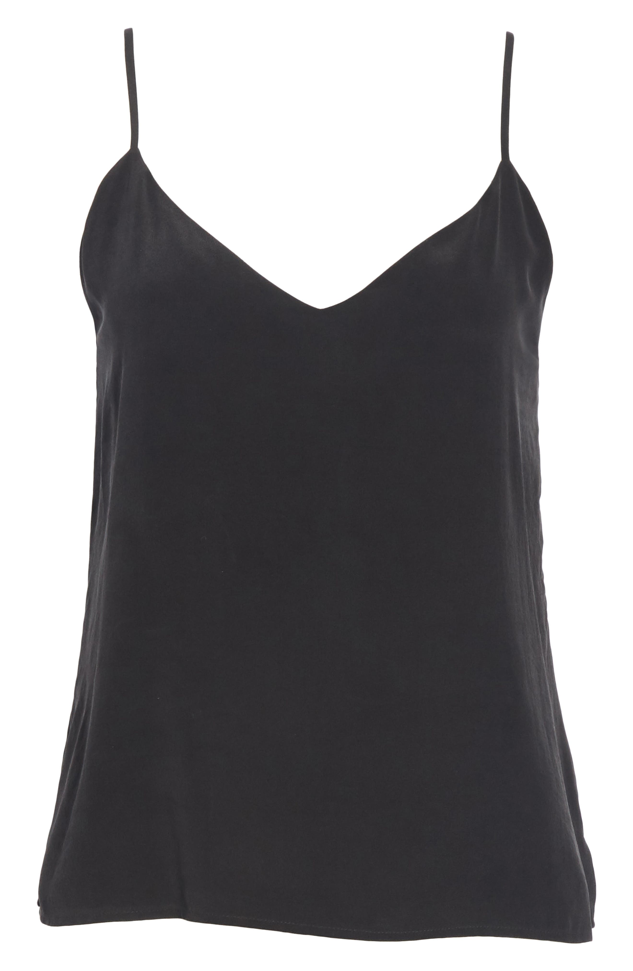 'Jane' Silk Tank,                             Alternate thumbnail 6, color,                             BLACK