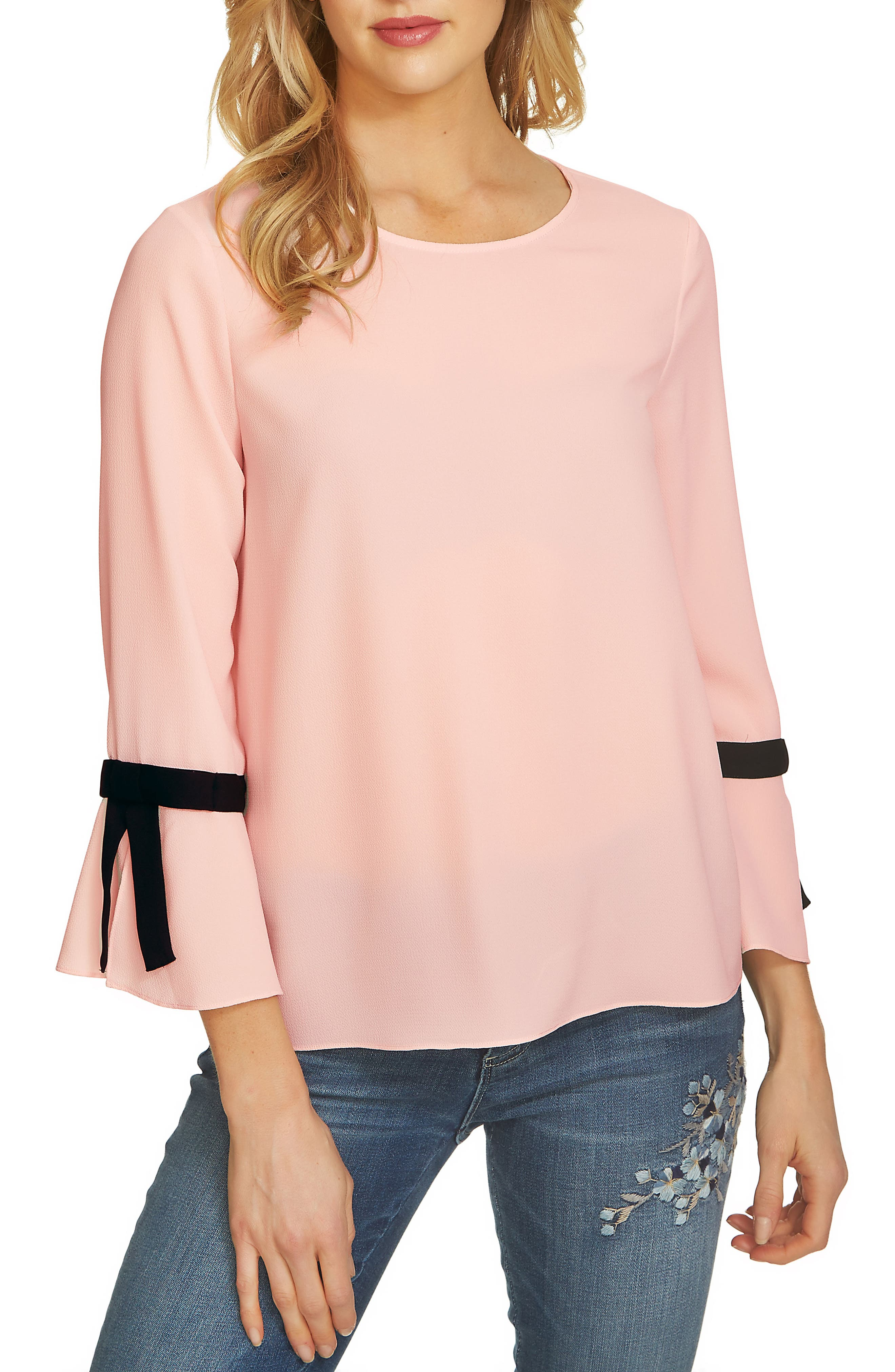 Tie Bell Sleeve Blouse,                             Main thumbnail 2, color,