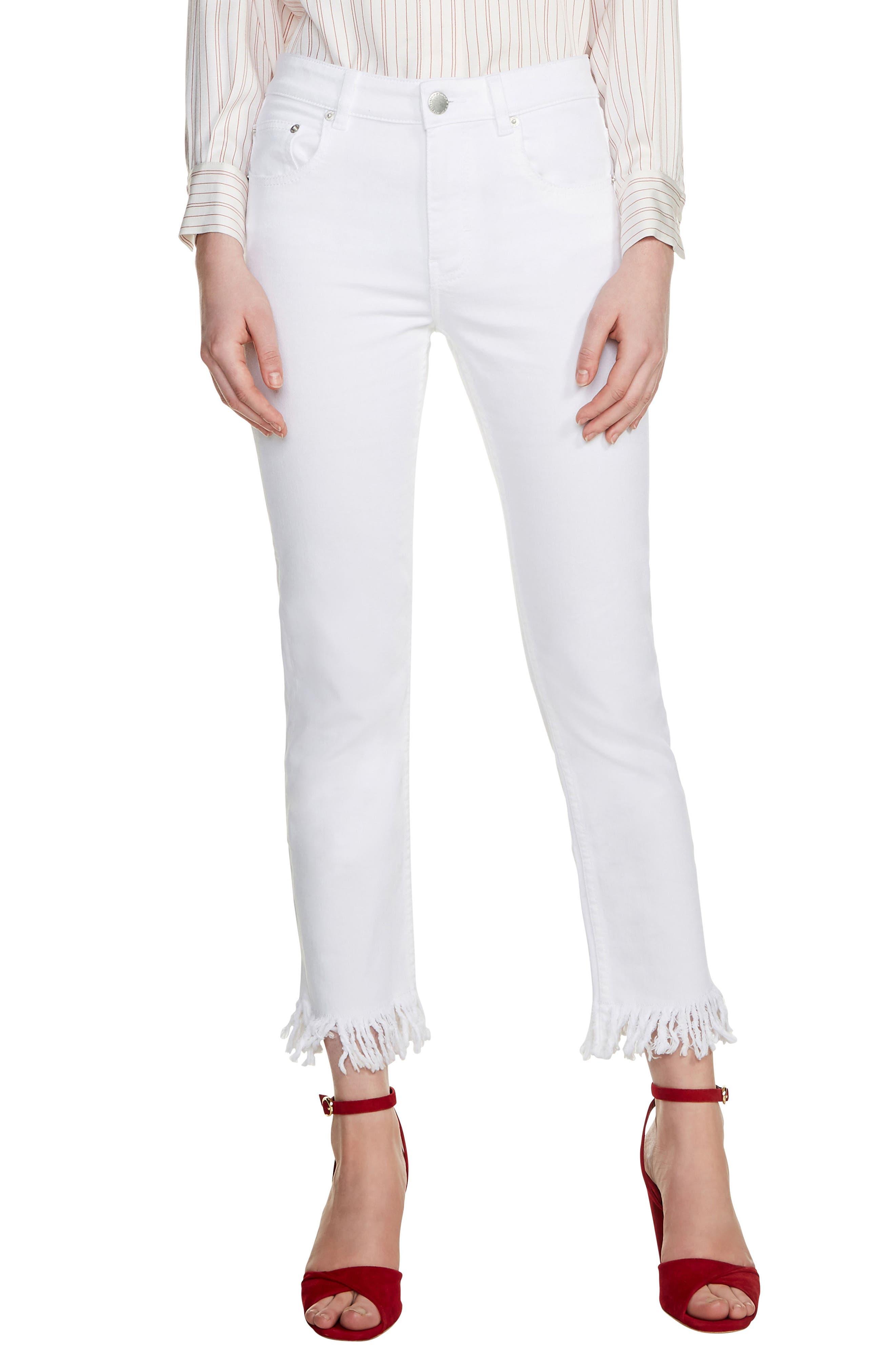 Panaki Fringe Straight Leg Jeans,                             Main thumbnail 1, color,                             100