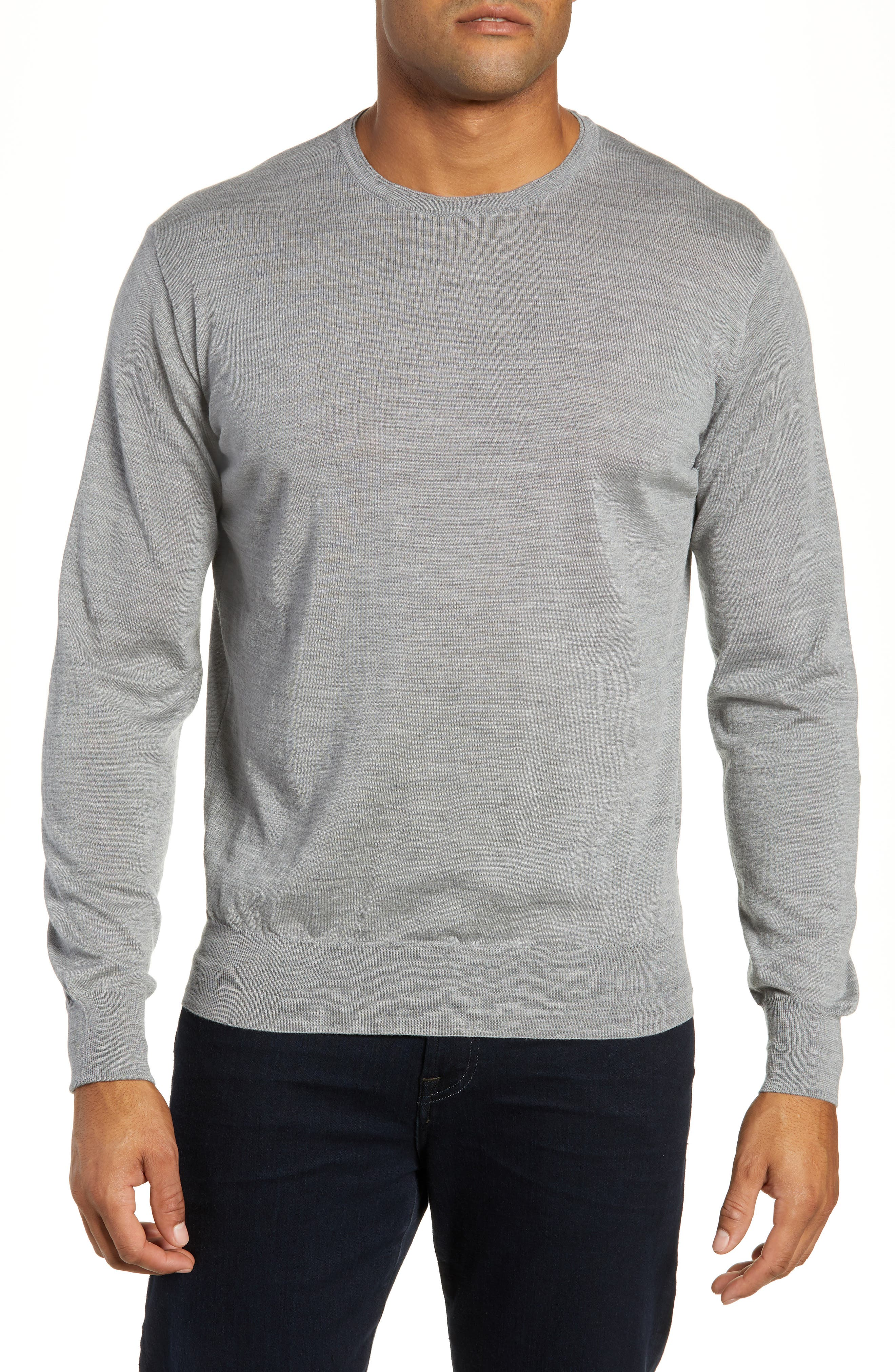 Merino Wool & Silk Crewneck Sweater,                         Main,                         color, 036
