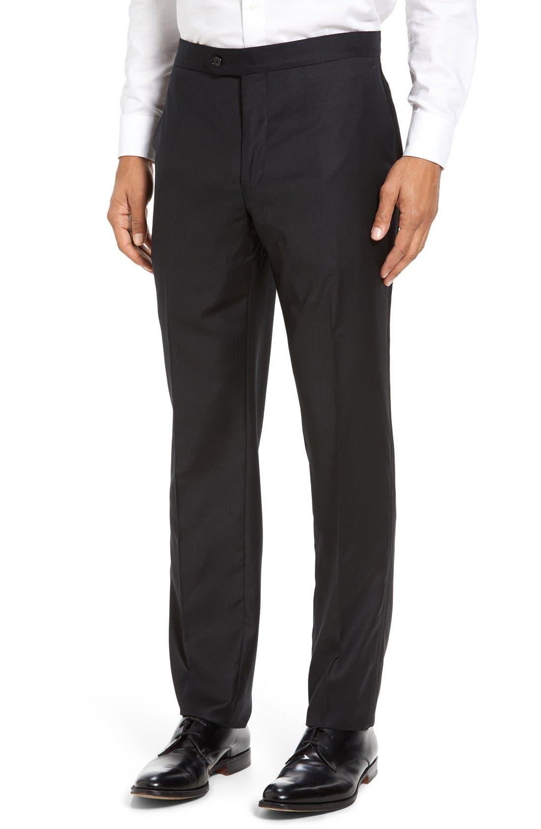 Dagger Flat Front Formal Wool Trousers,                         Main,                         color, 001