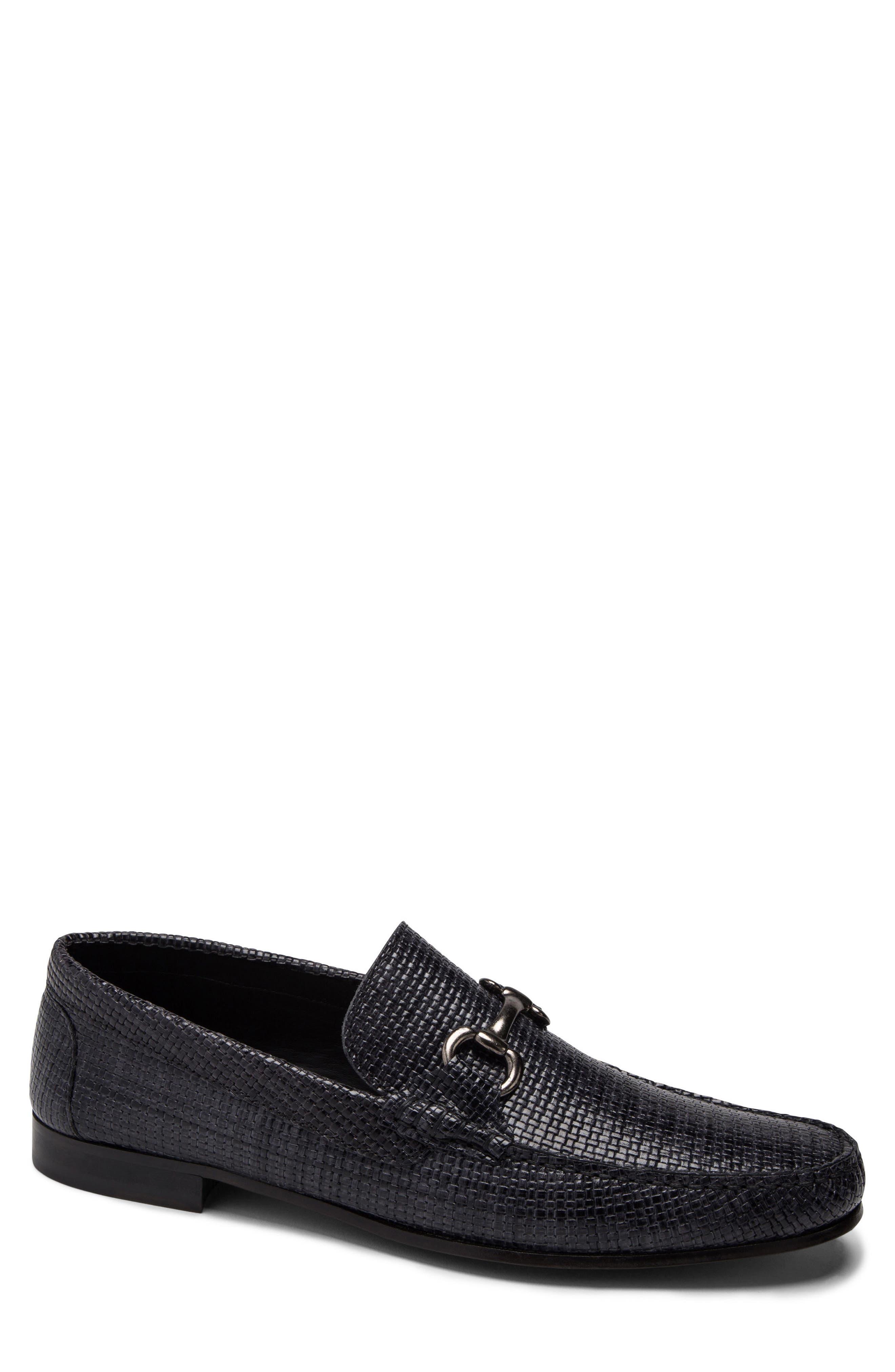 men's bugatchi embossed bit loafer, size 10 m - grey