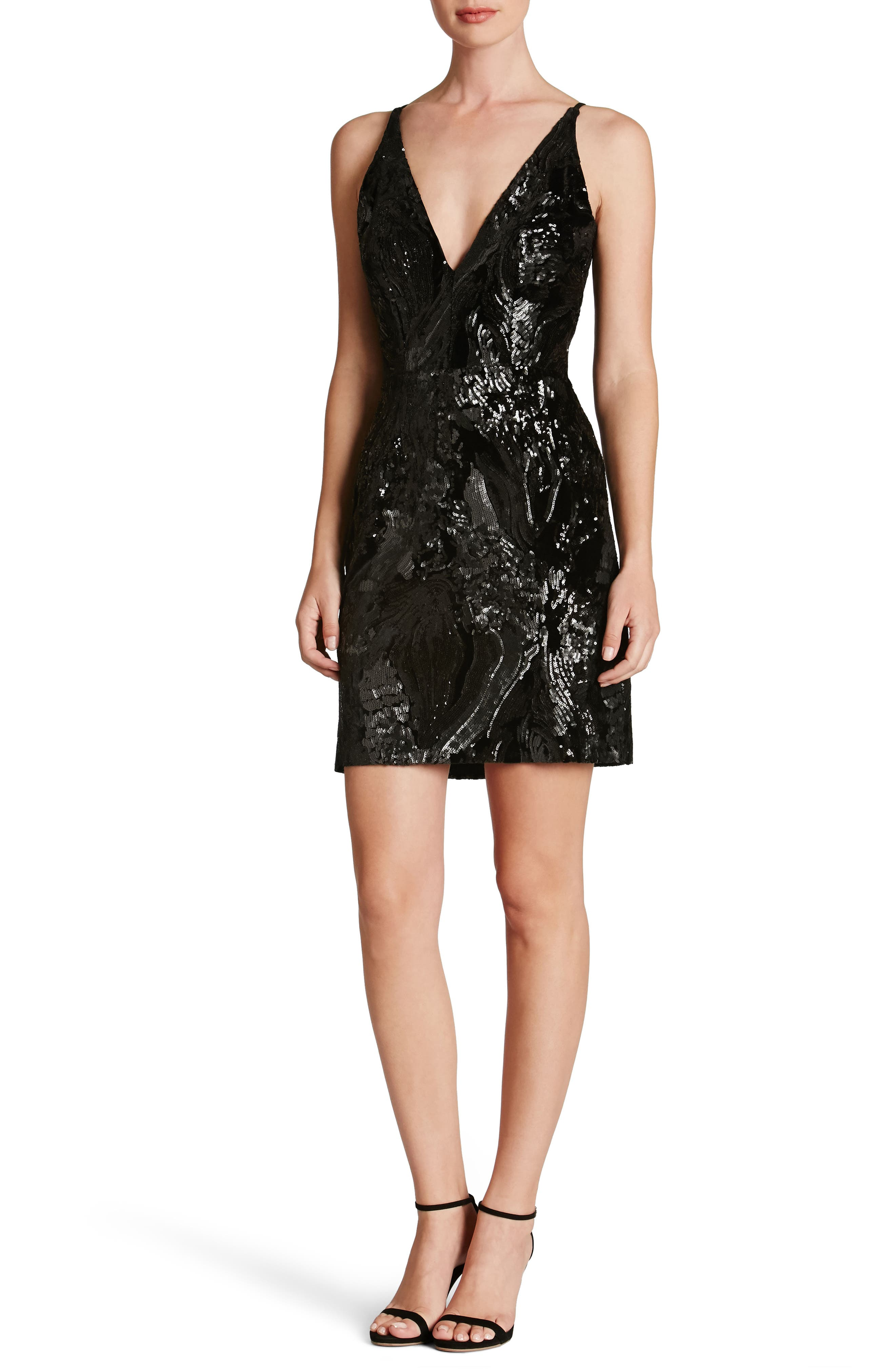 Jordyn Plunge Sequin Body-Con Dress,                             Main thumbnail 1, color,                             015