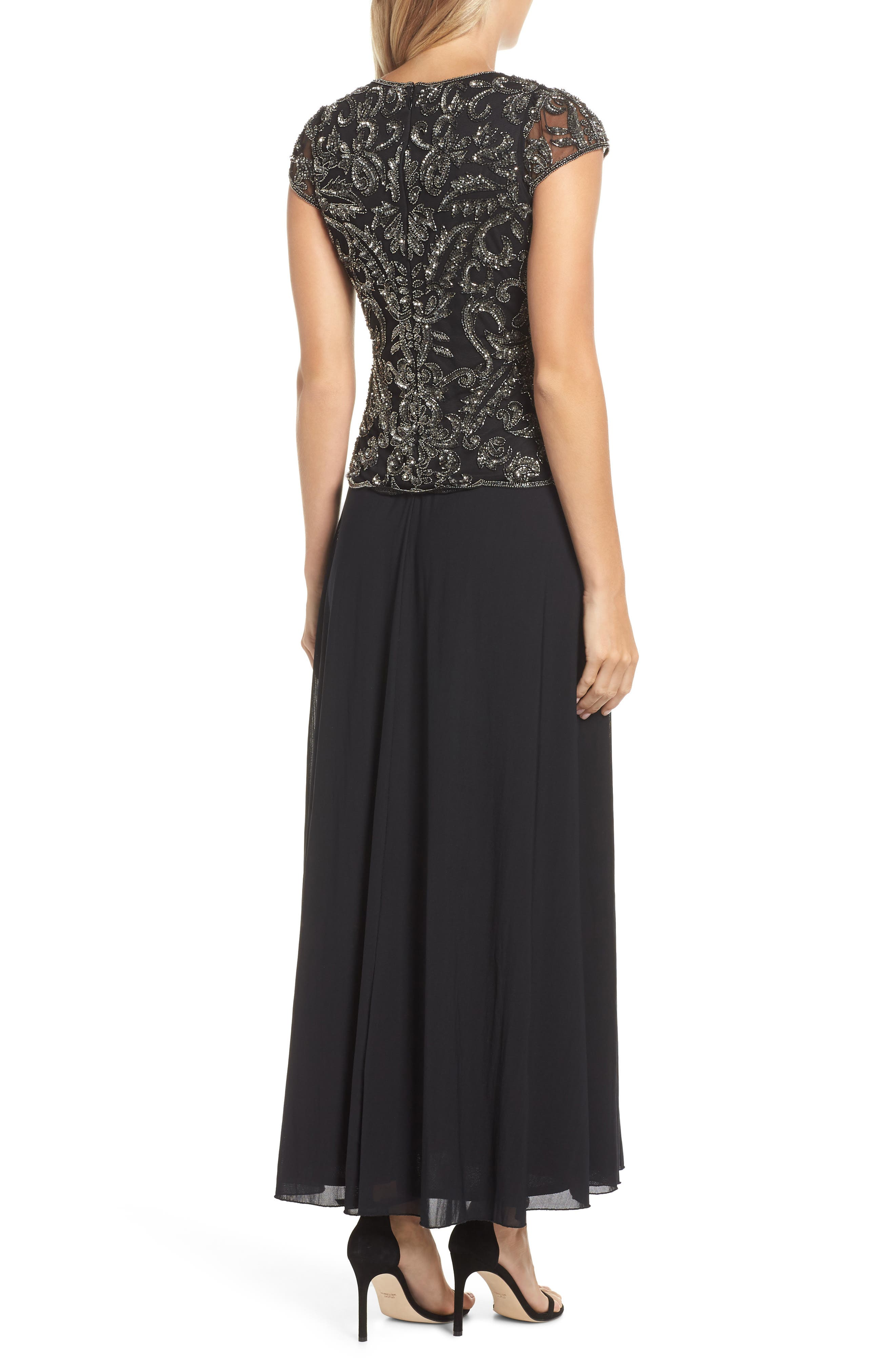 PISARRO NIGHTS,                             Beaded Mesh Mock Two-Piece Gown,                             Alternate thumbnail 2, color,                             001