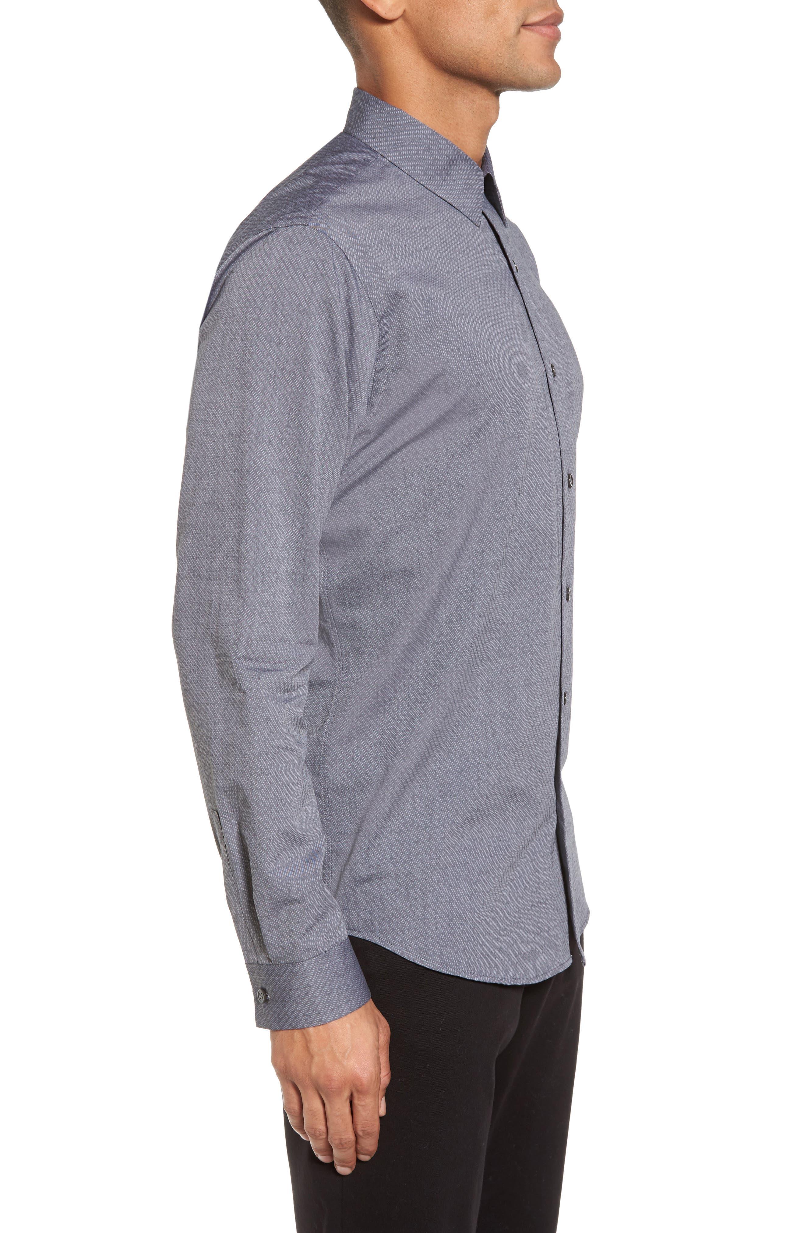 Storm Trim Fit Solid Sport Shirt,                             Alternate thumbnail 3, color,