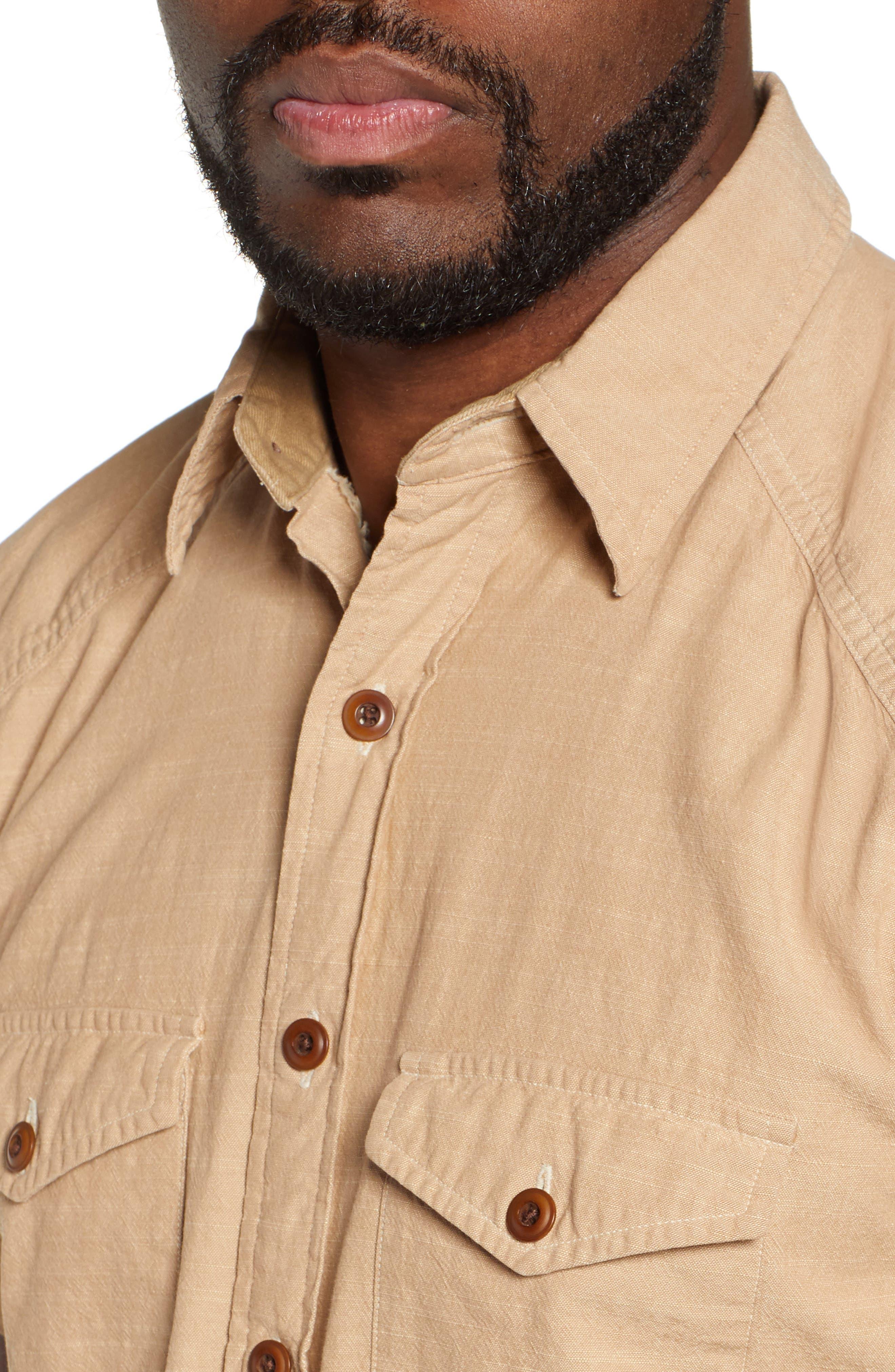 FRYE,                             Addison Chambray Woven Shirt,                             Alternate thumbnail 2, color,                             KRAFT BROWN