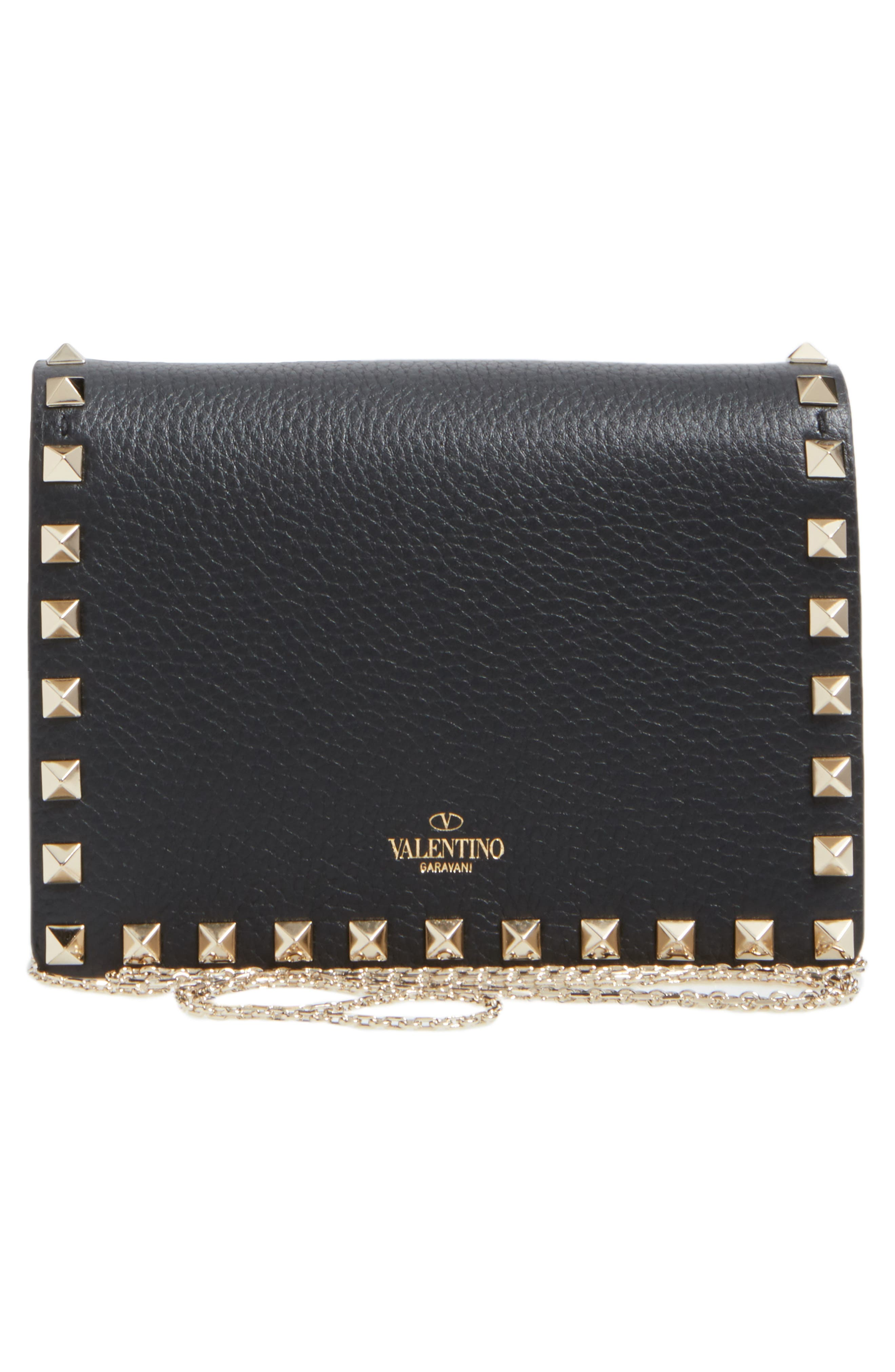 Rockstud Leather Wallet on a Chain,                             Alternate thumbnail 8, color,