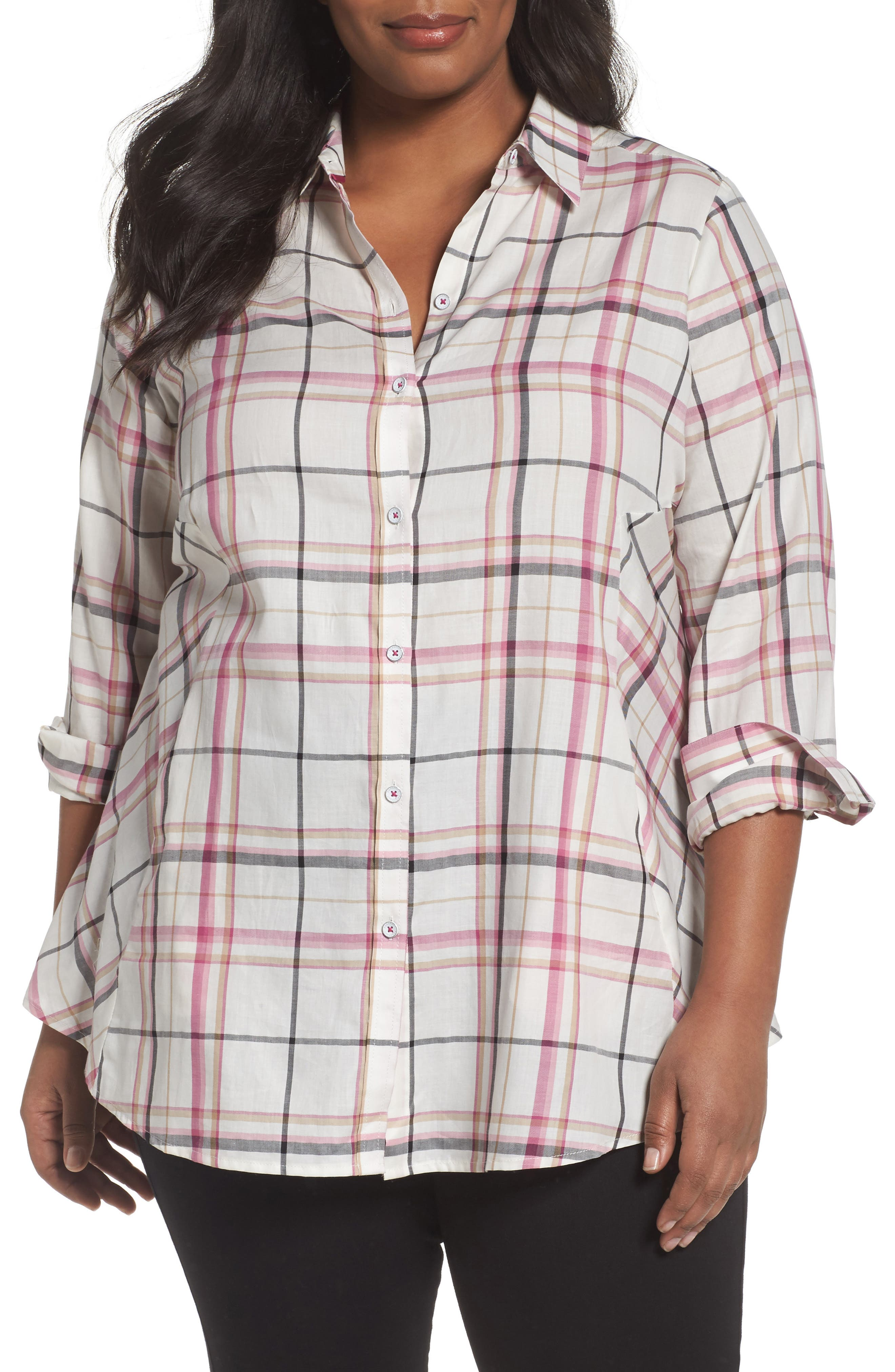 Cici Herringbone Plaid Tunic,                         Main,                         color, ROSEBERRY
