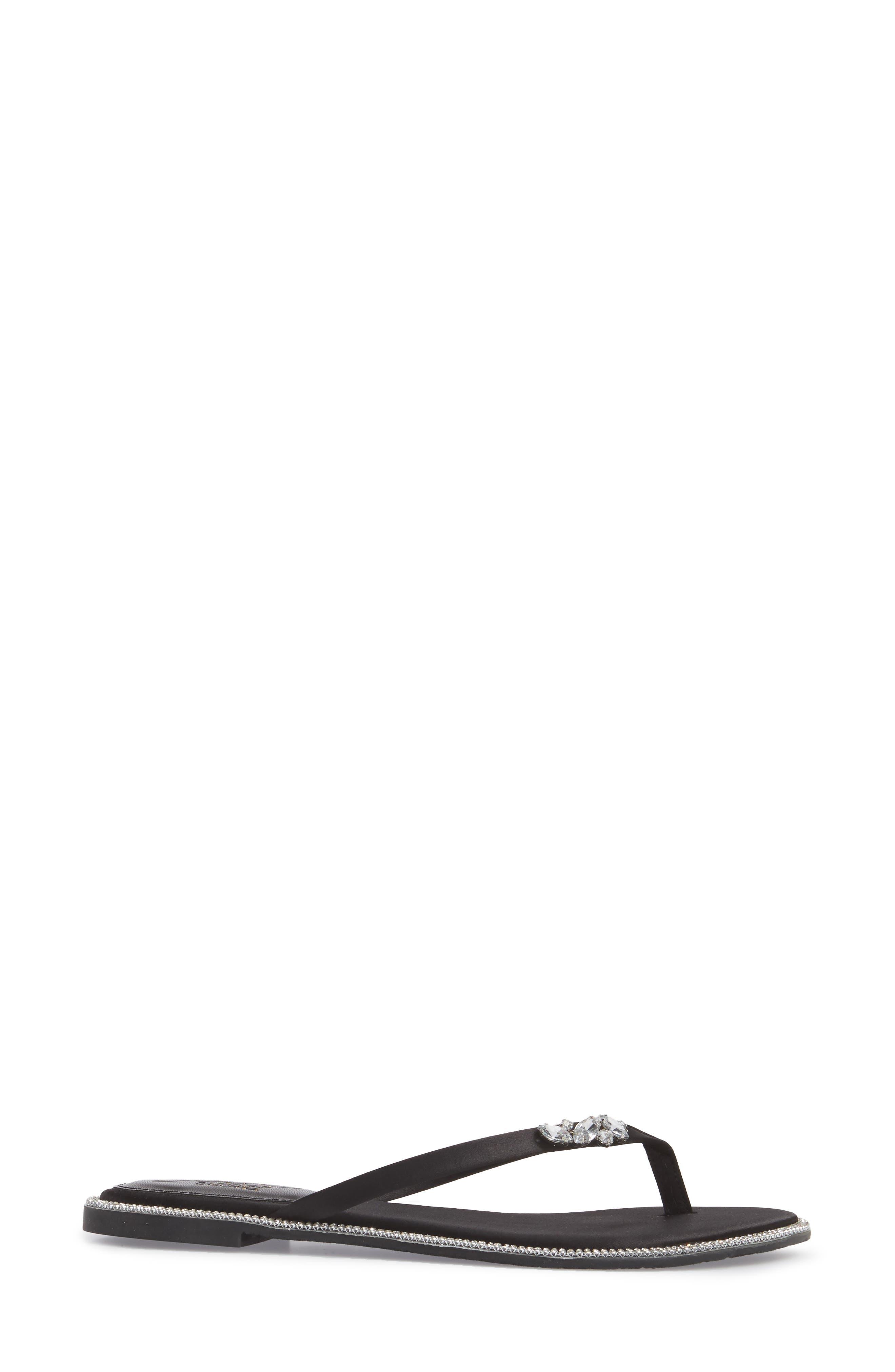JEWEL BADGLEY MISCHKA,                             Thalia Crystal Embellished Flip Flop,                             Alternate thumbnail 3, color,                             015