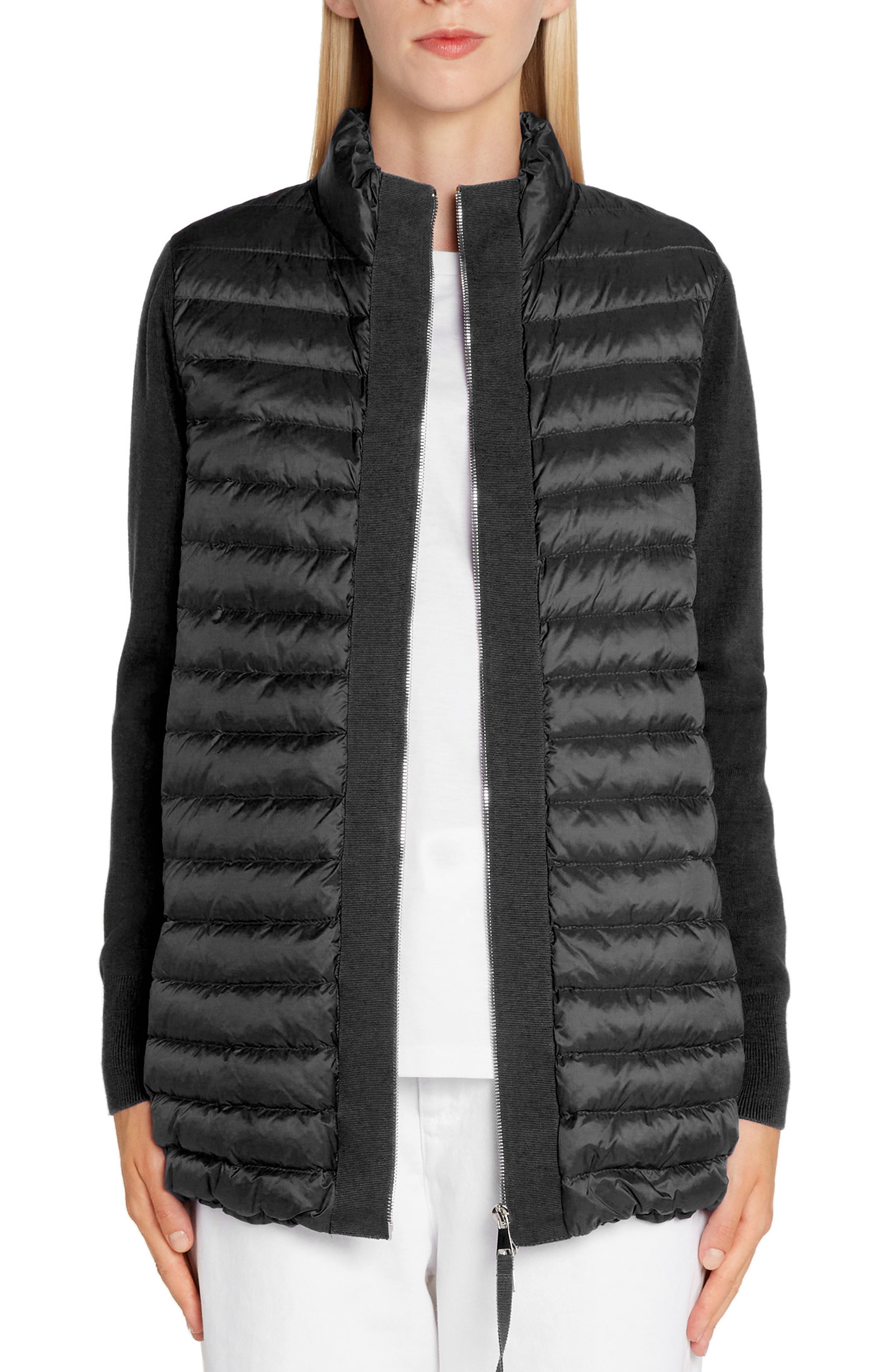 Quilted Down & Knit Cardigan, Main, color, BLACK