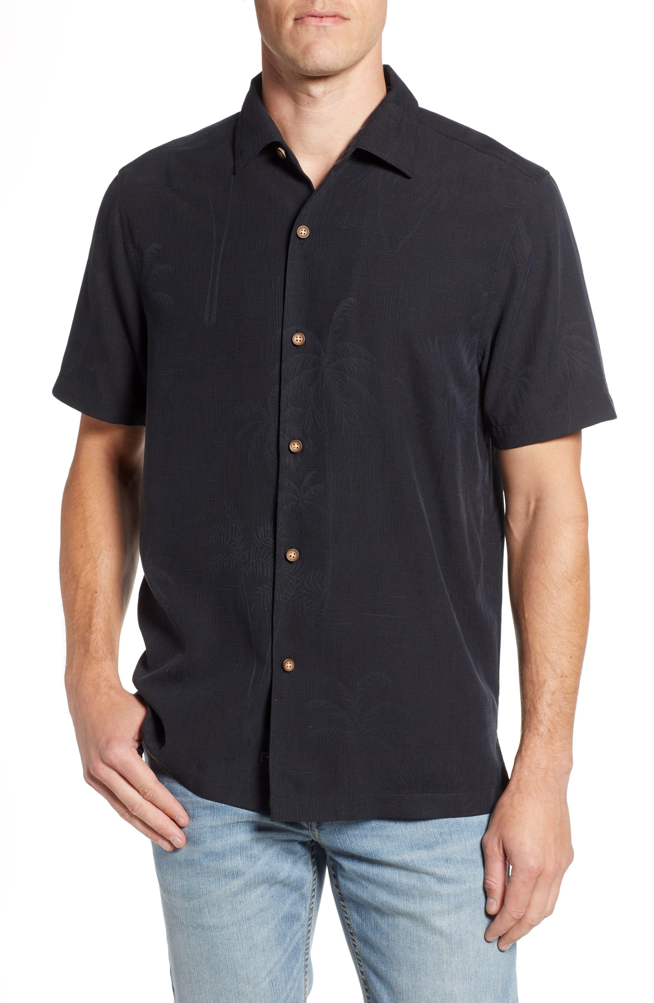 Wish Yule Were Here Silk Camp Shirt,                         Main,                         color, BLACK