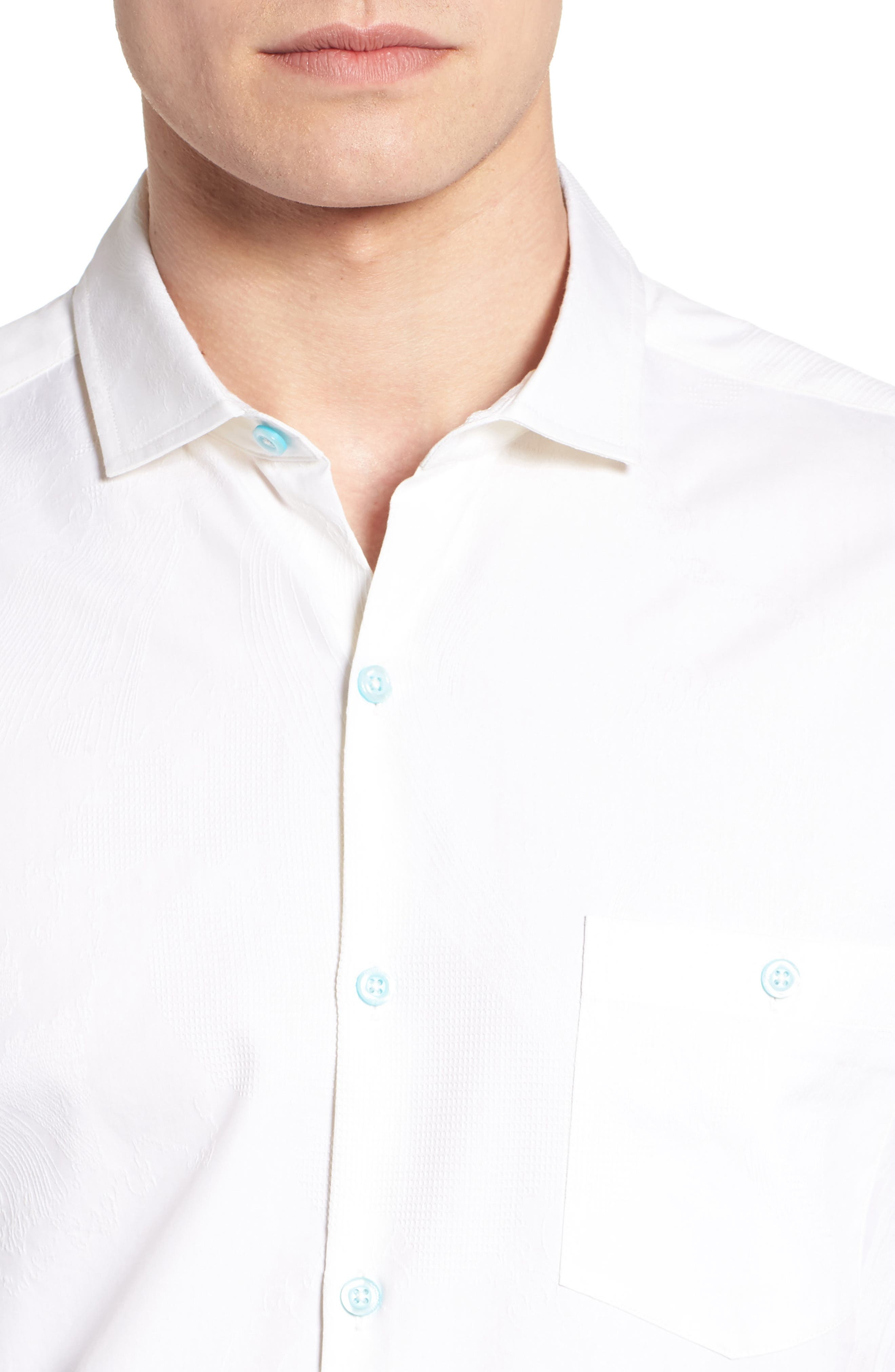 Seas the Day Trim Fit Camp Shirt,                             Alternate thumbnail 4, color,                             WHITE