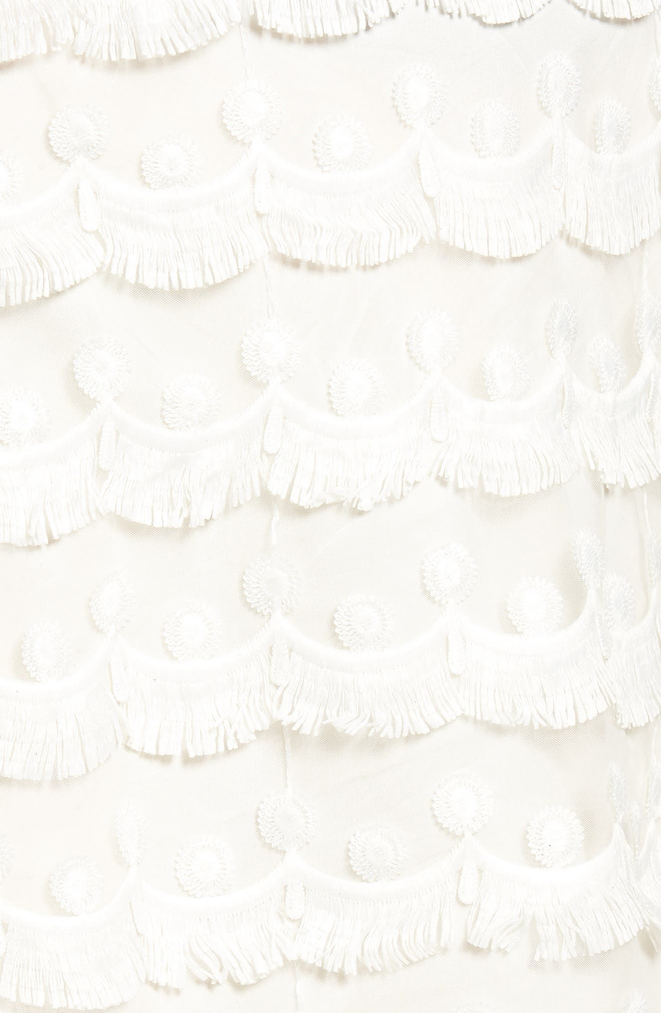 3D Lace Fringed Miniskirt,                             Alternate thumbnail 5, color,