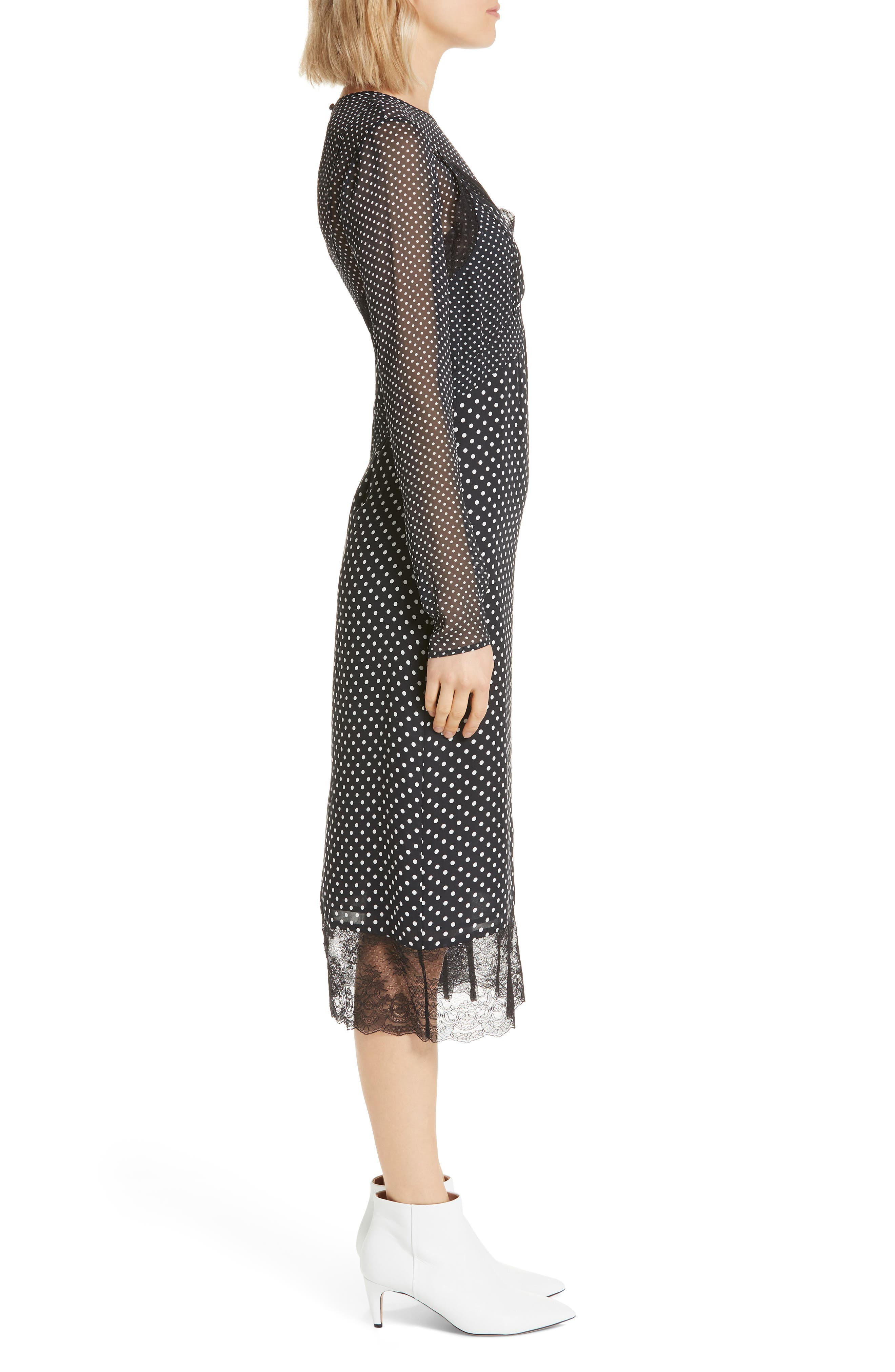 Alamea Dot & Lace Midi Dress,                             Alternate thumbnail 3, color,                             CAVIAR