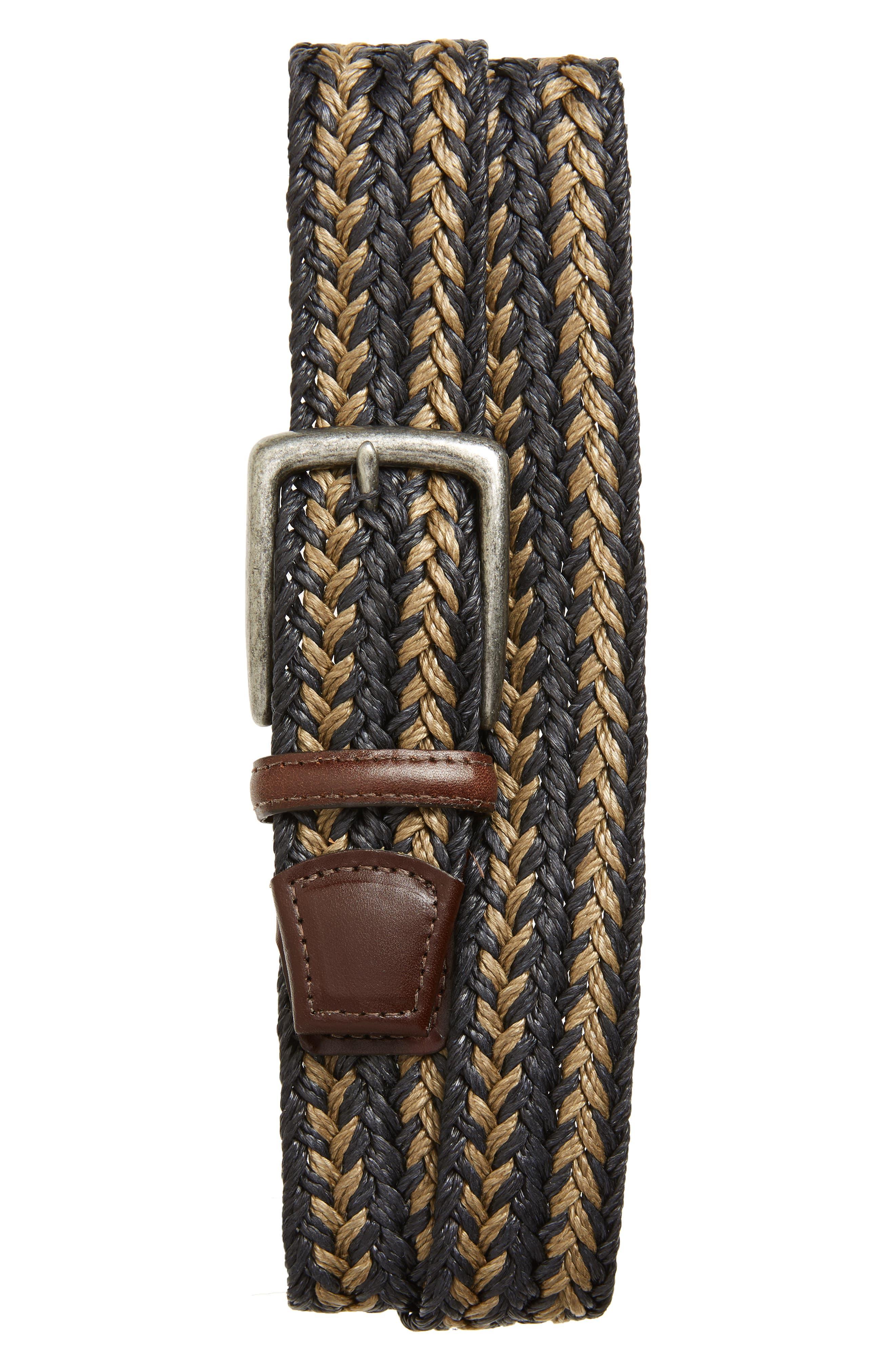 Torino Woven Linen Belt, Navy/ Taupe