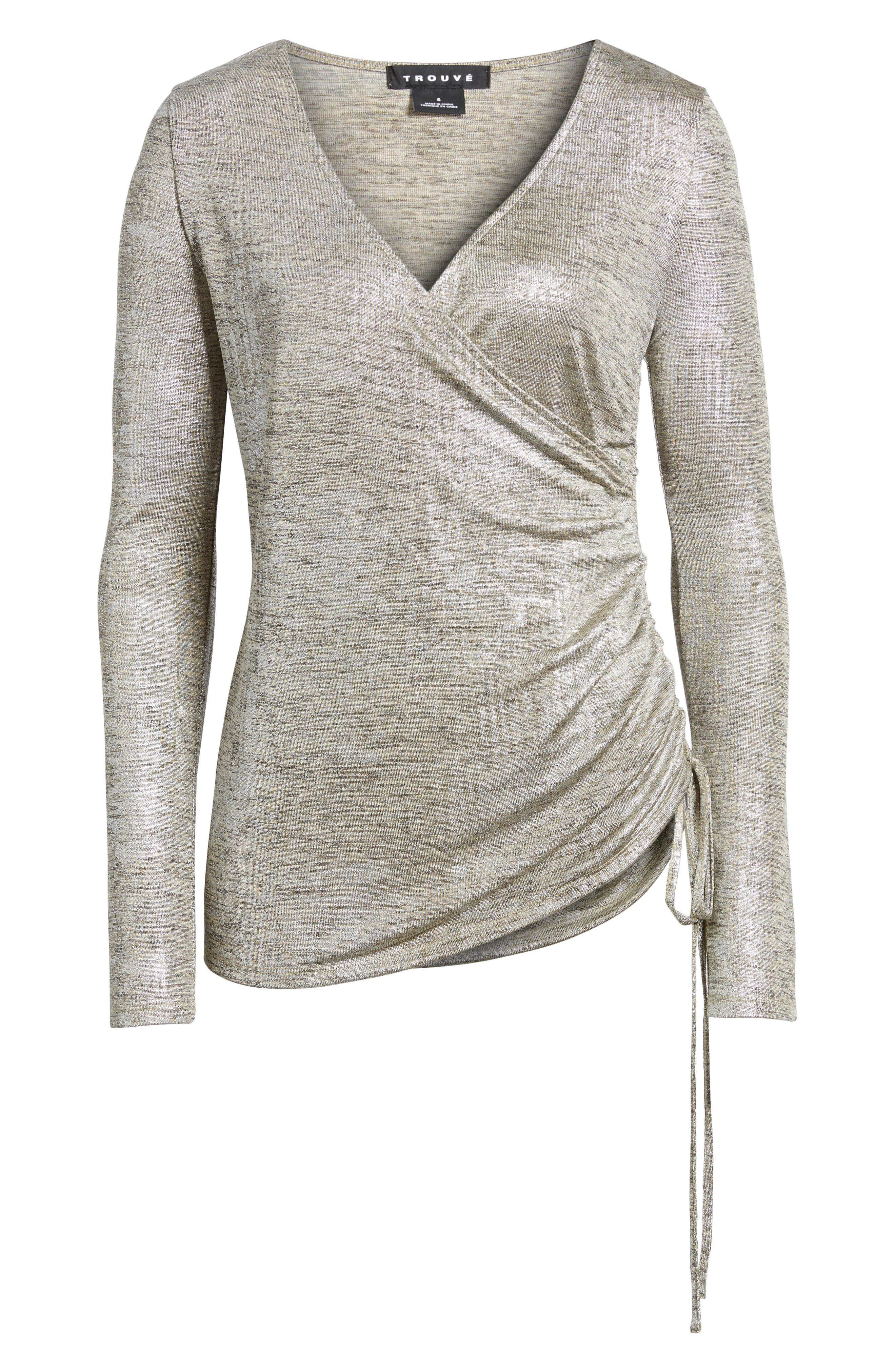 Ruched Metallic Top,                             Alternate thumbnail 6, color,                             040