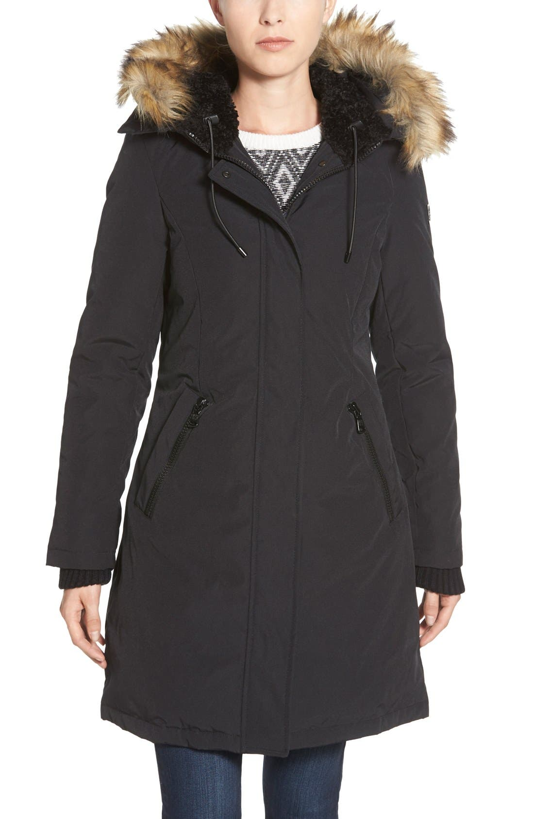 Down & Feather Fill Parka with Faux Fur Trim,                             Main thumbnail 5, color,
