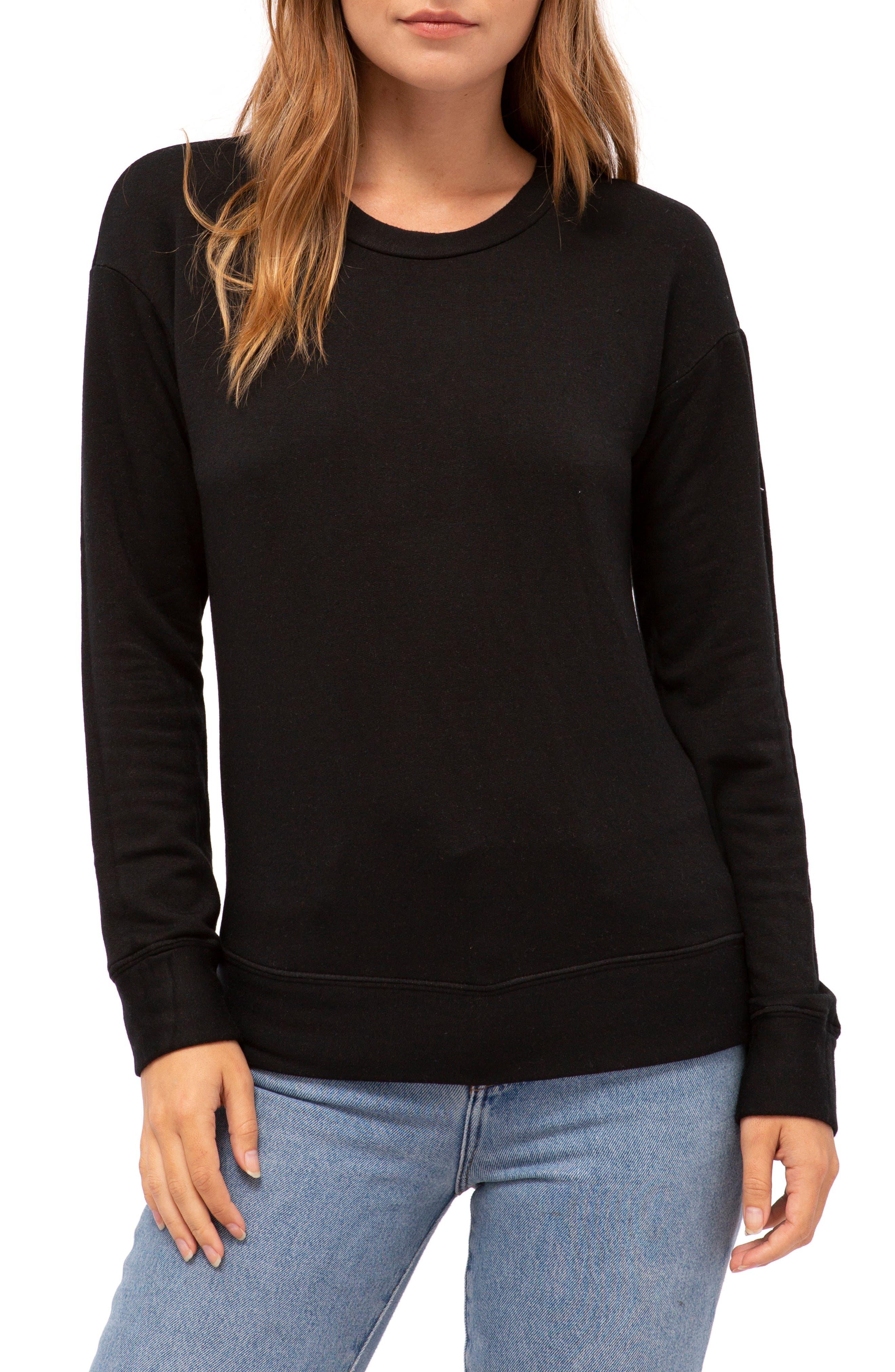 Fleece Pullover,                         Main,                         color, BLACK