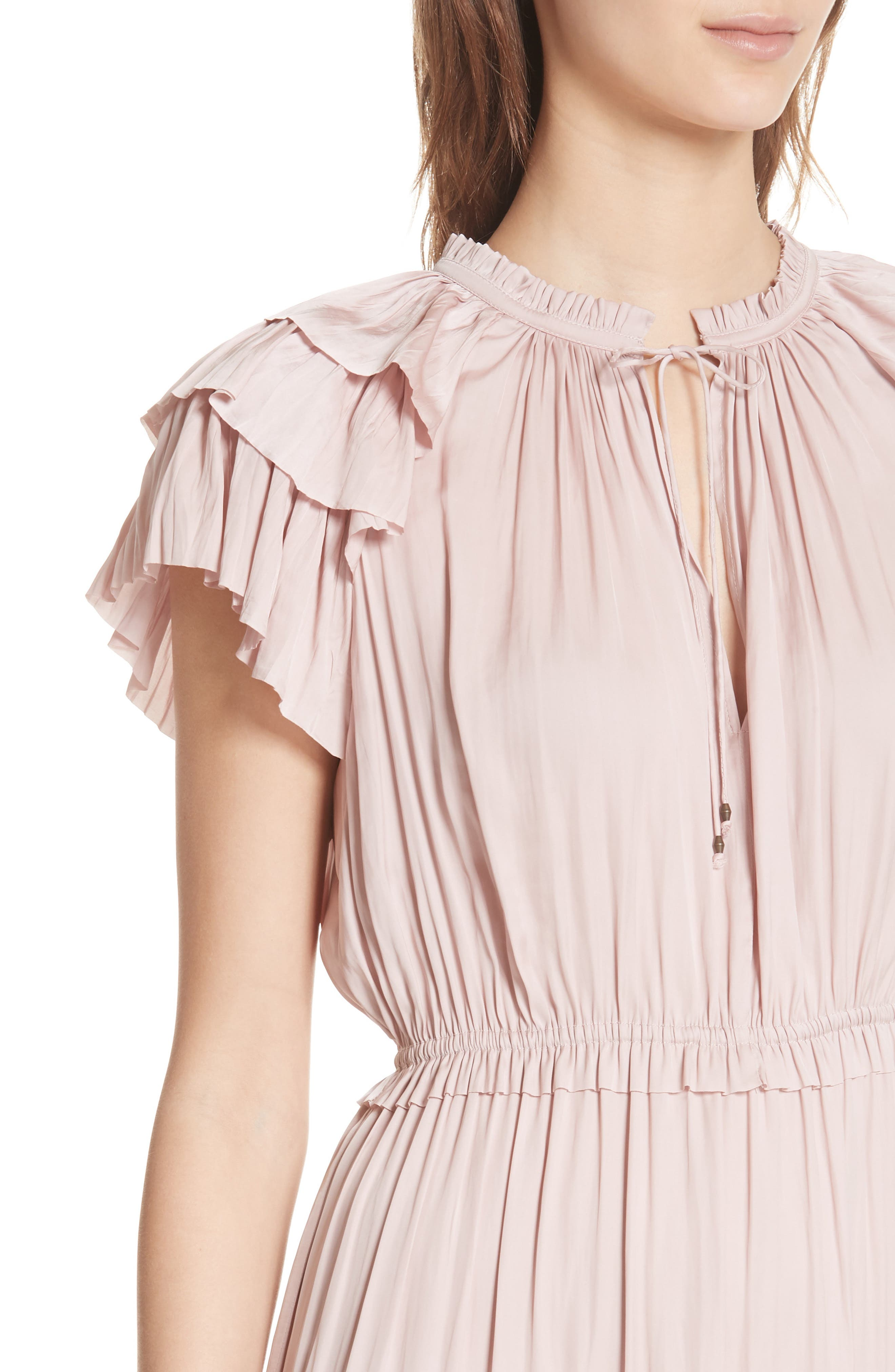 ULLA JOHNSON,                             Blaire Satin Dress,                             Alternate thumbnail 4, color,                             600