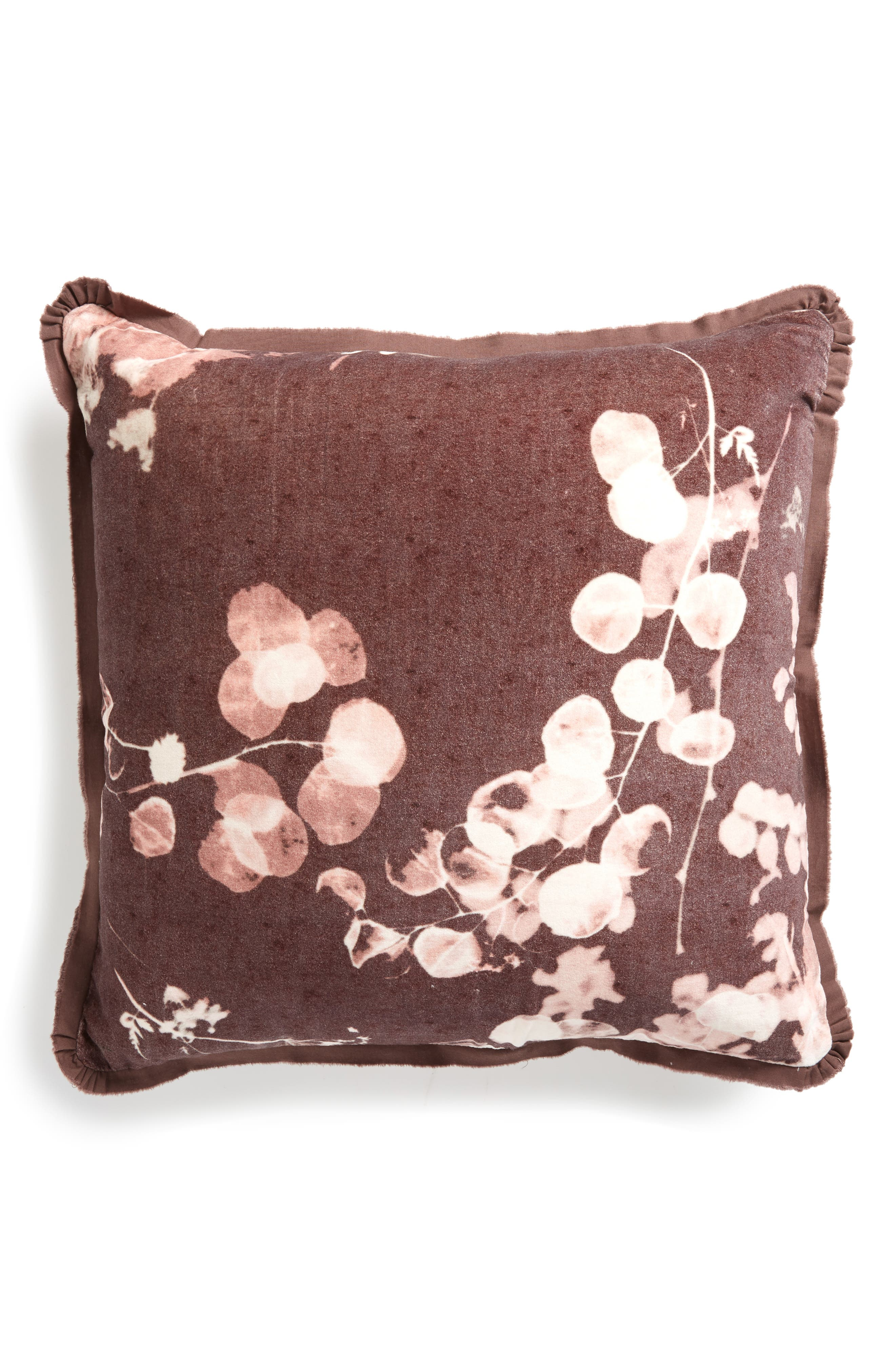 Sun Print Square Accent Pillow, Main, color, BROWN ROSE