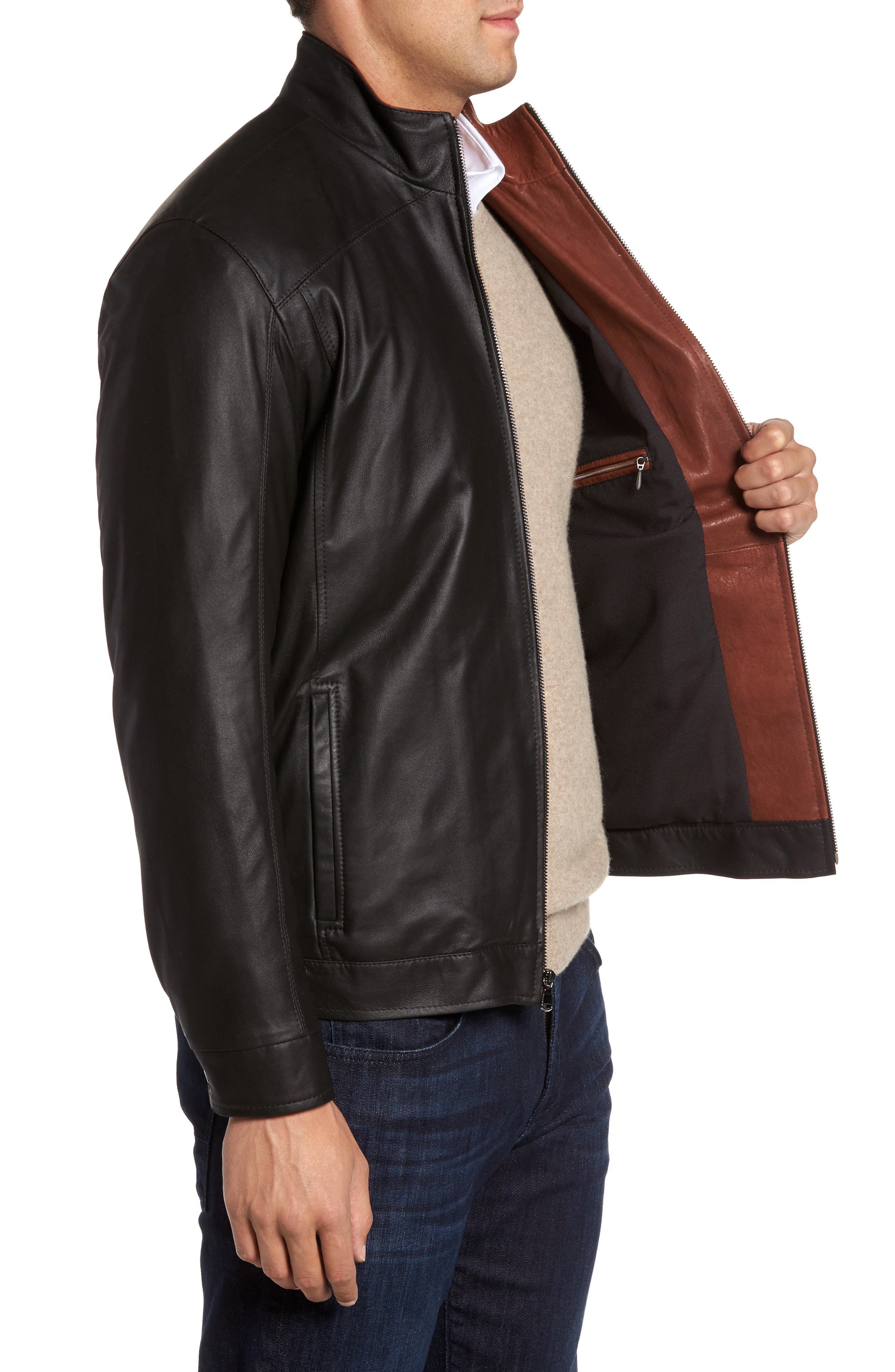 Leather Jacket,                             Alternate thumbnail 3, color,                             PEAT/ TIMBER