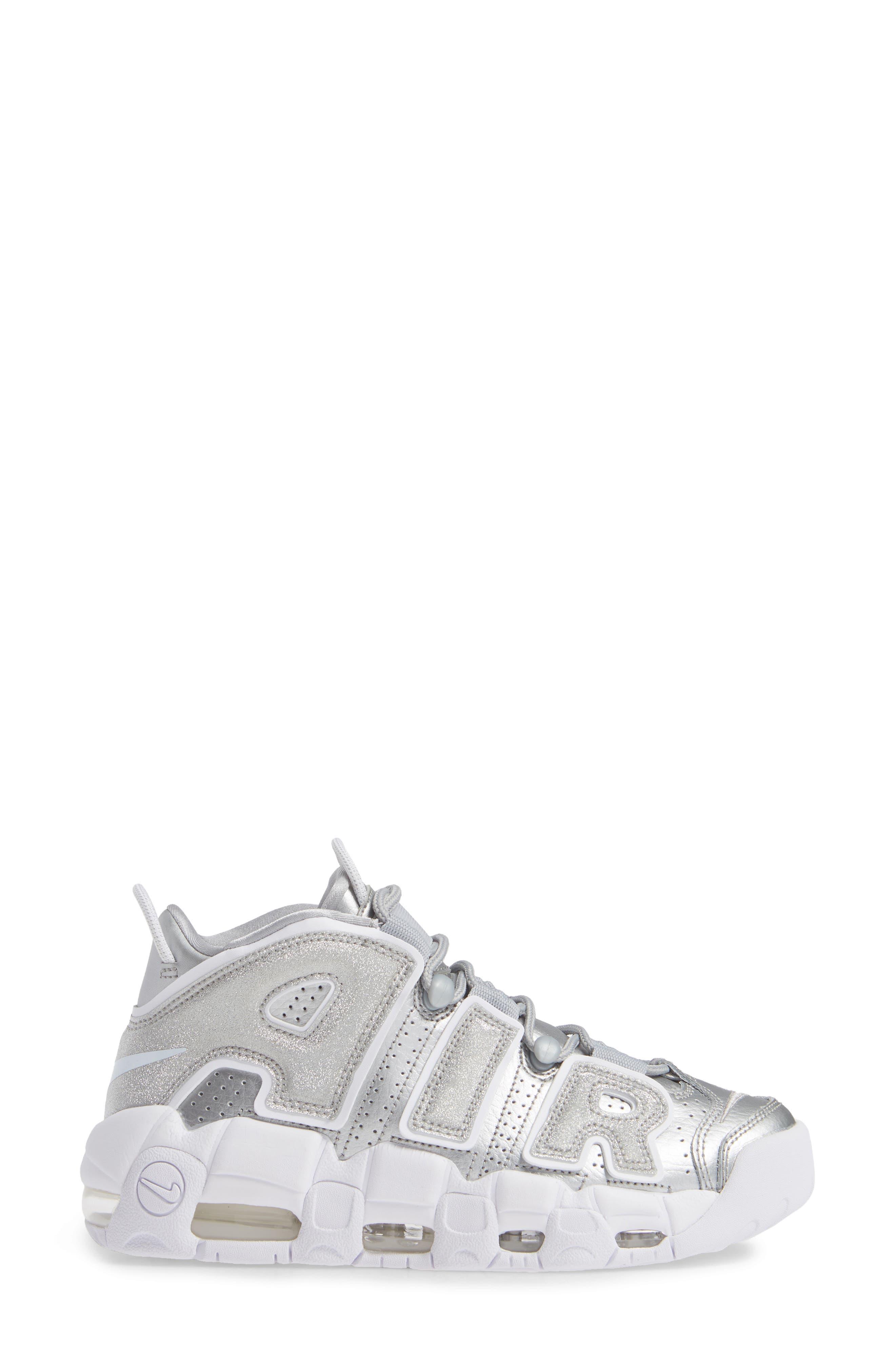 Air More Uptempo Sneaker,                             Alternate thumbnail 3, color,                             METALLIC SILVER