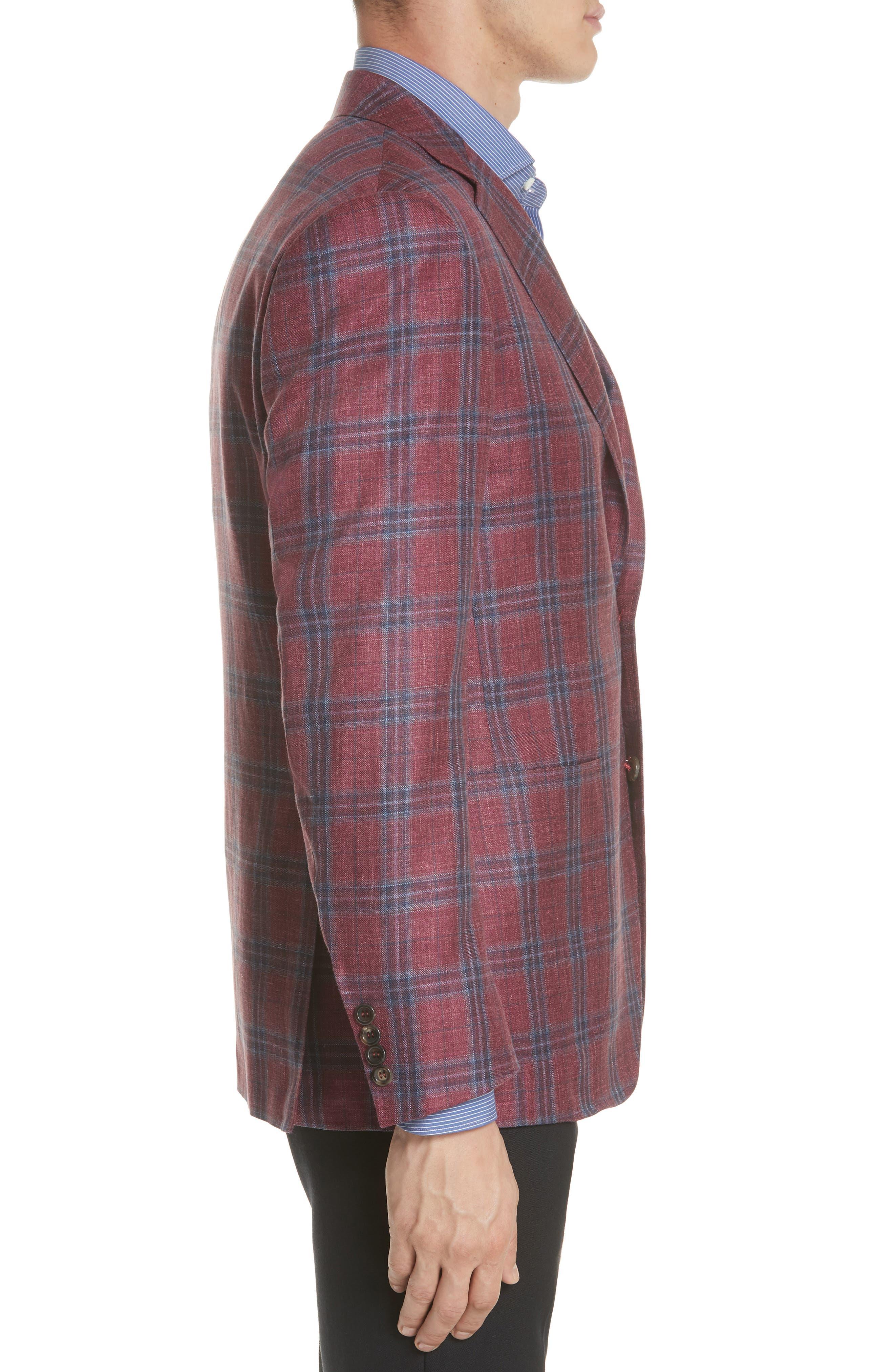 Regular Fit Wool Blend Plaid Sport Coat,                             Alternate thumbnail 3, color,
