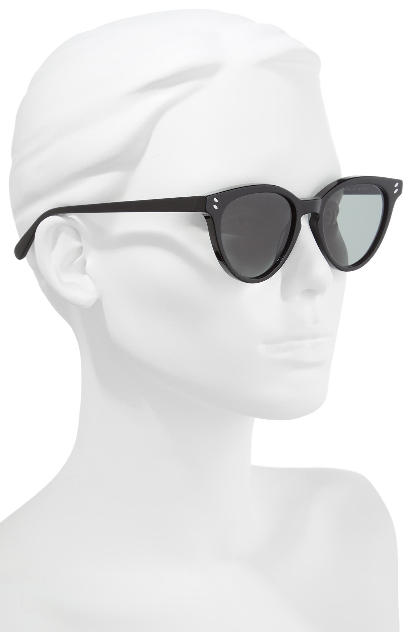 50mm Round Sunglasses,                             Alternate thumbnail 2, color,                             BLACK