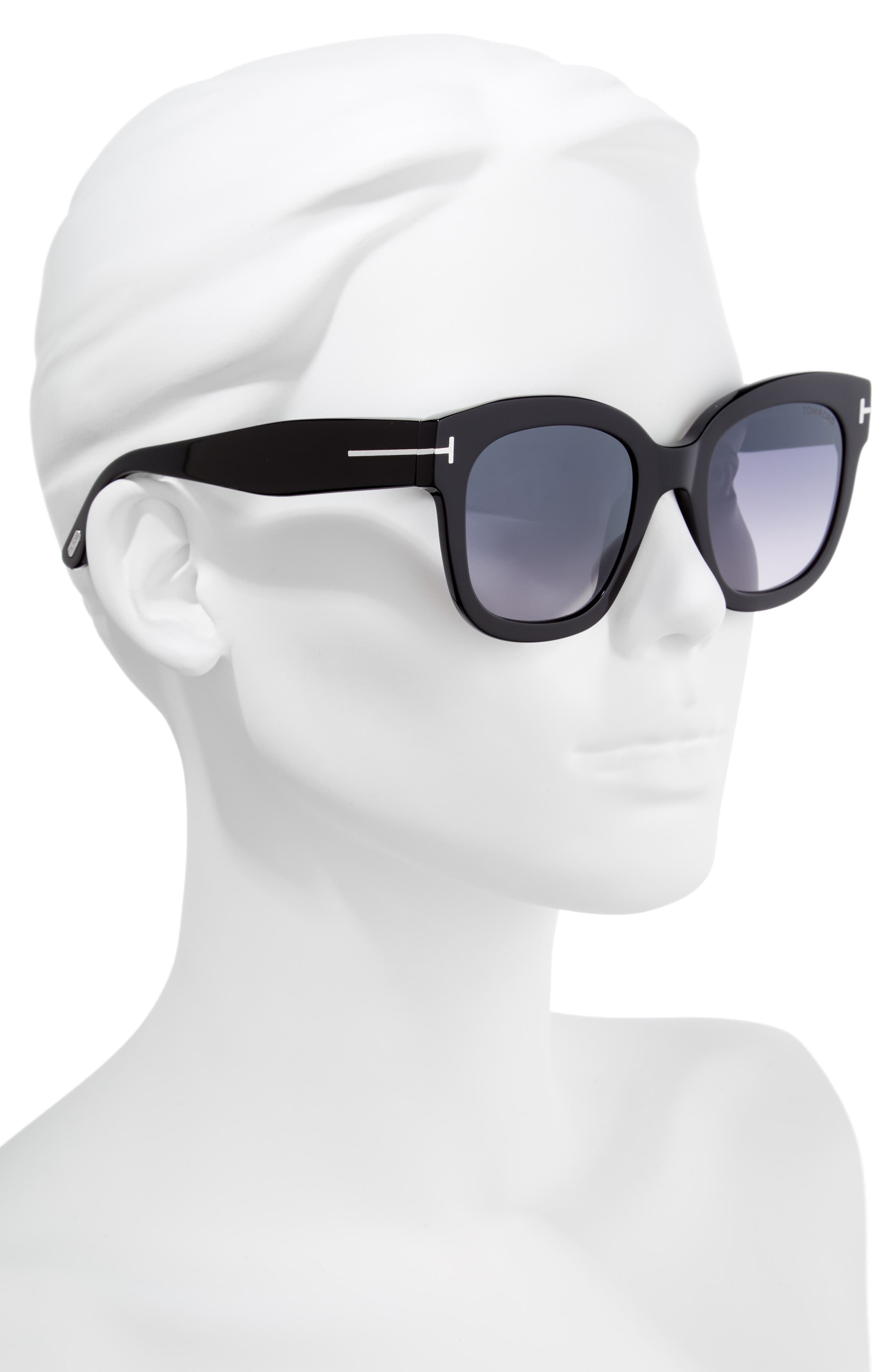 Beatrix 52mm Sunglasses,                             Alternate thumbnail 2, color,                             SHINY BLACK/ SMOKE MIRROR