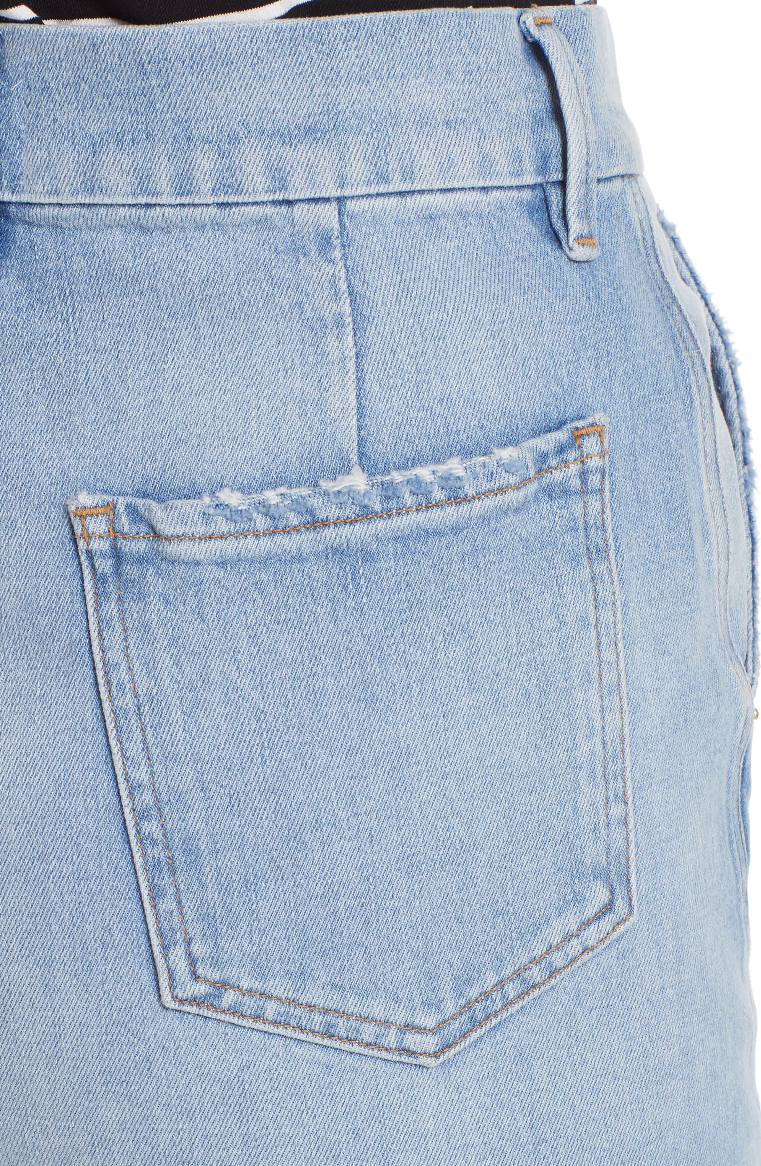 Body-Con Denim Miniskirt,                             Alternate thumbnail 4, color,                             450