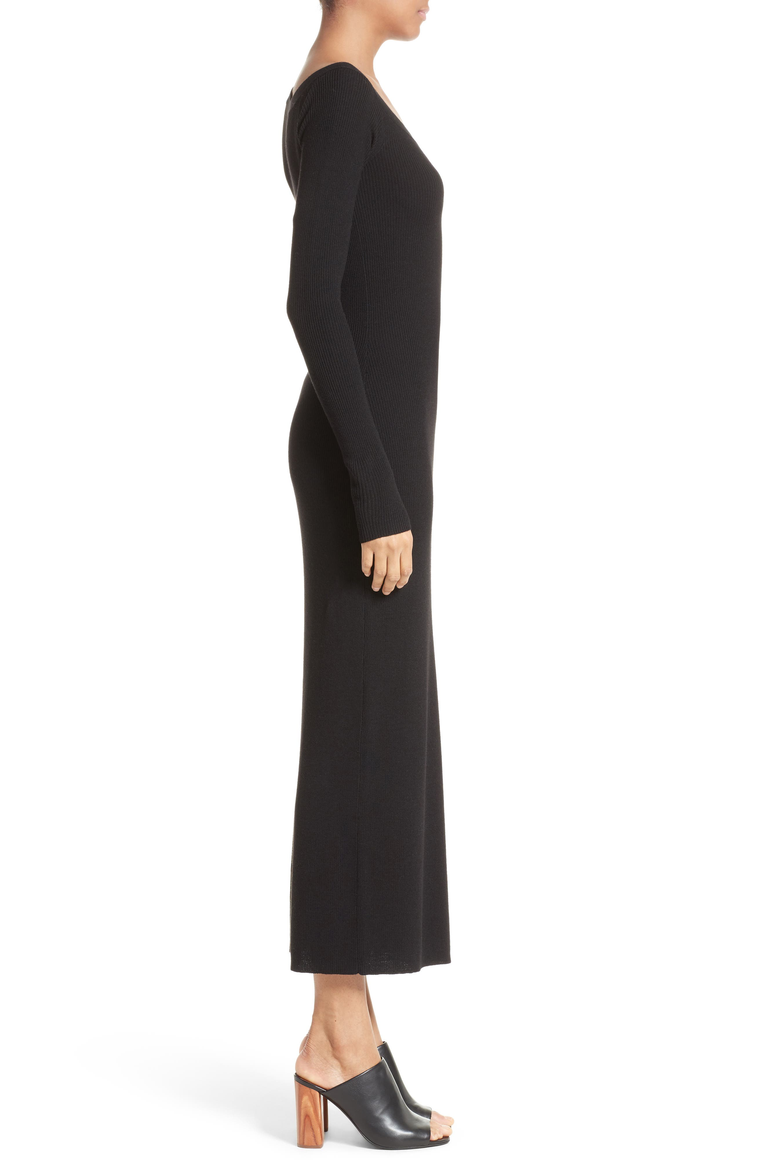 Brynn Merino Wool Blend Midi Dress,                             Alternate thumbnail 3, color,                             001