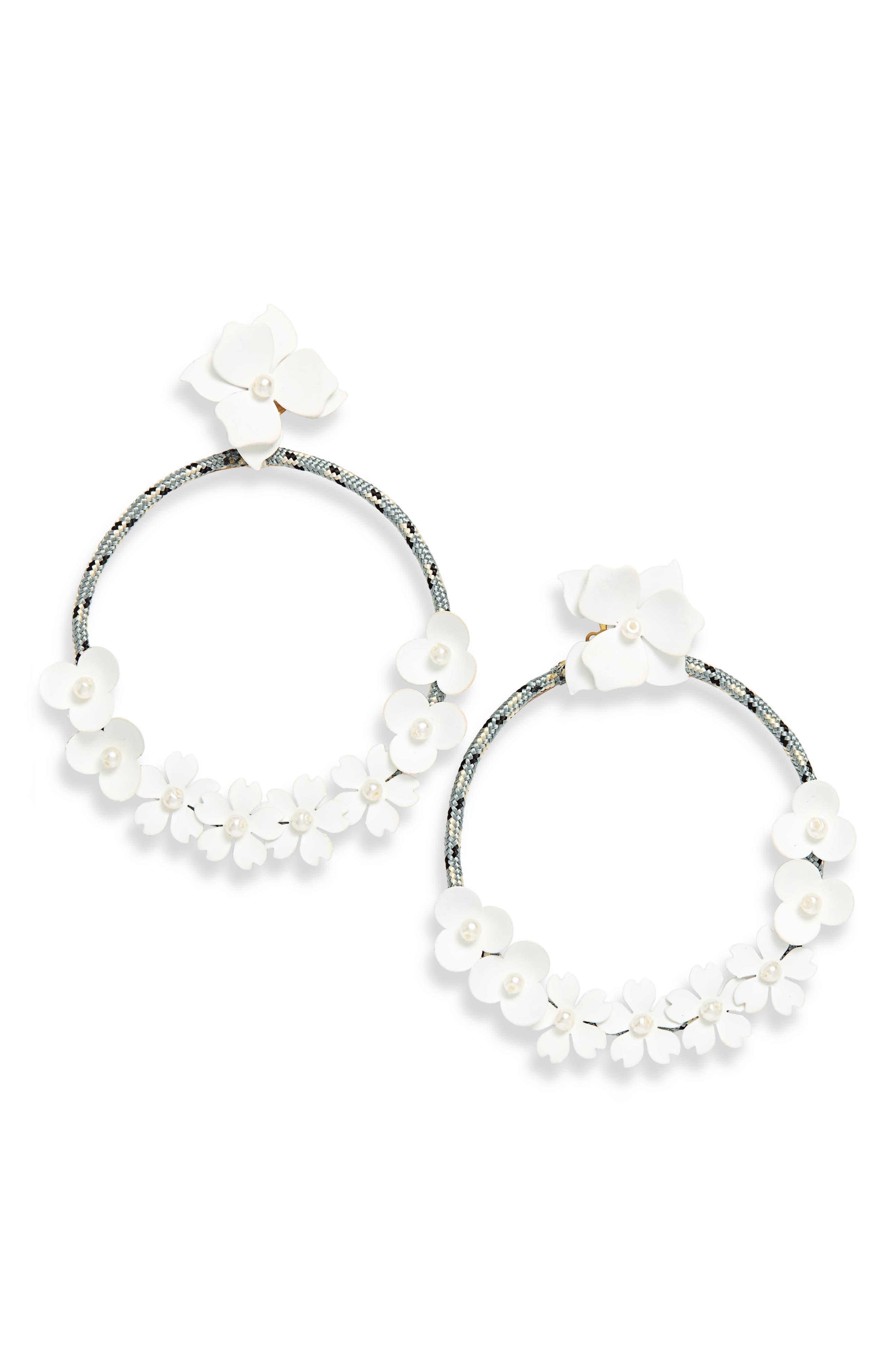 SEREFINA Flower Hoop Earrings in White