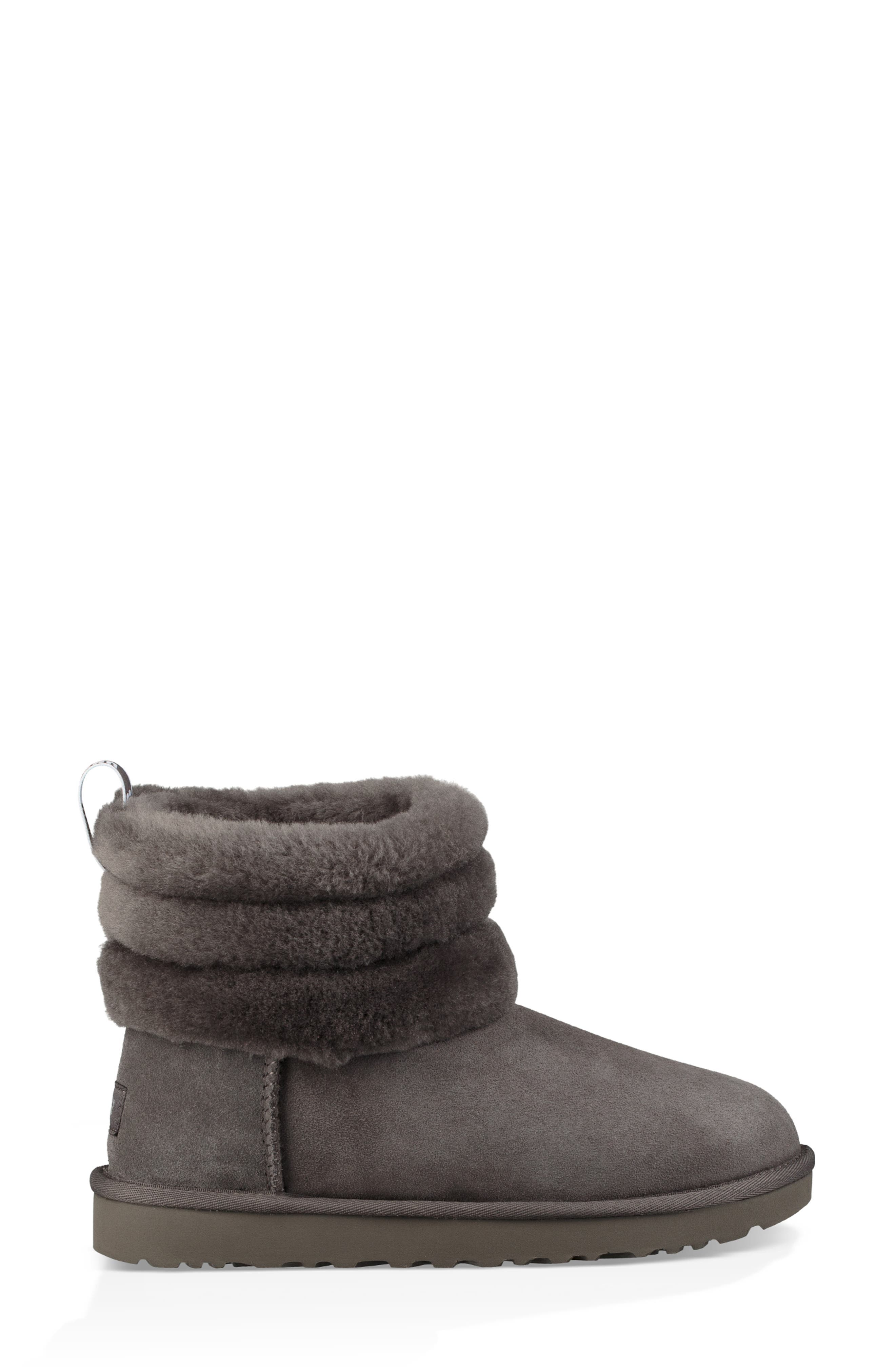 Classic Mini Fluff Quilted Boot,                             Alternate thumbnail 3, color,                             CHARCOAL SUEDE