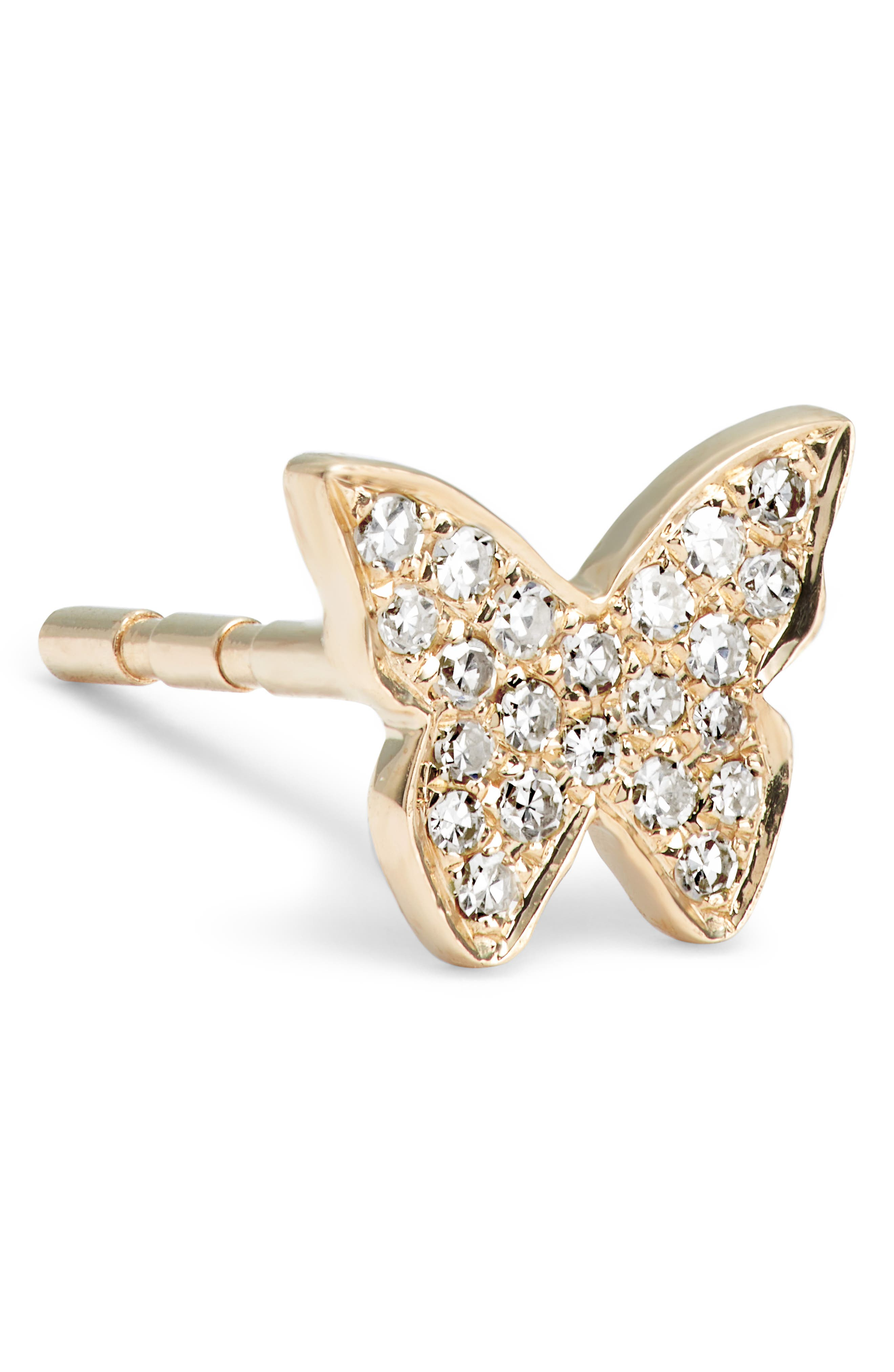 Butterfly Diamond Stud Earrings,                             Alternate thumbnail 5, color,                             YELLOW GOLD