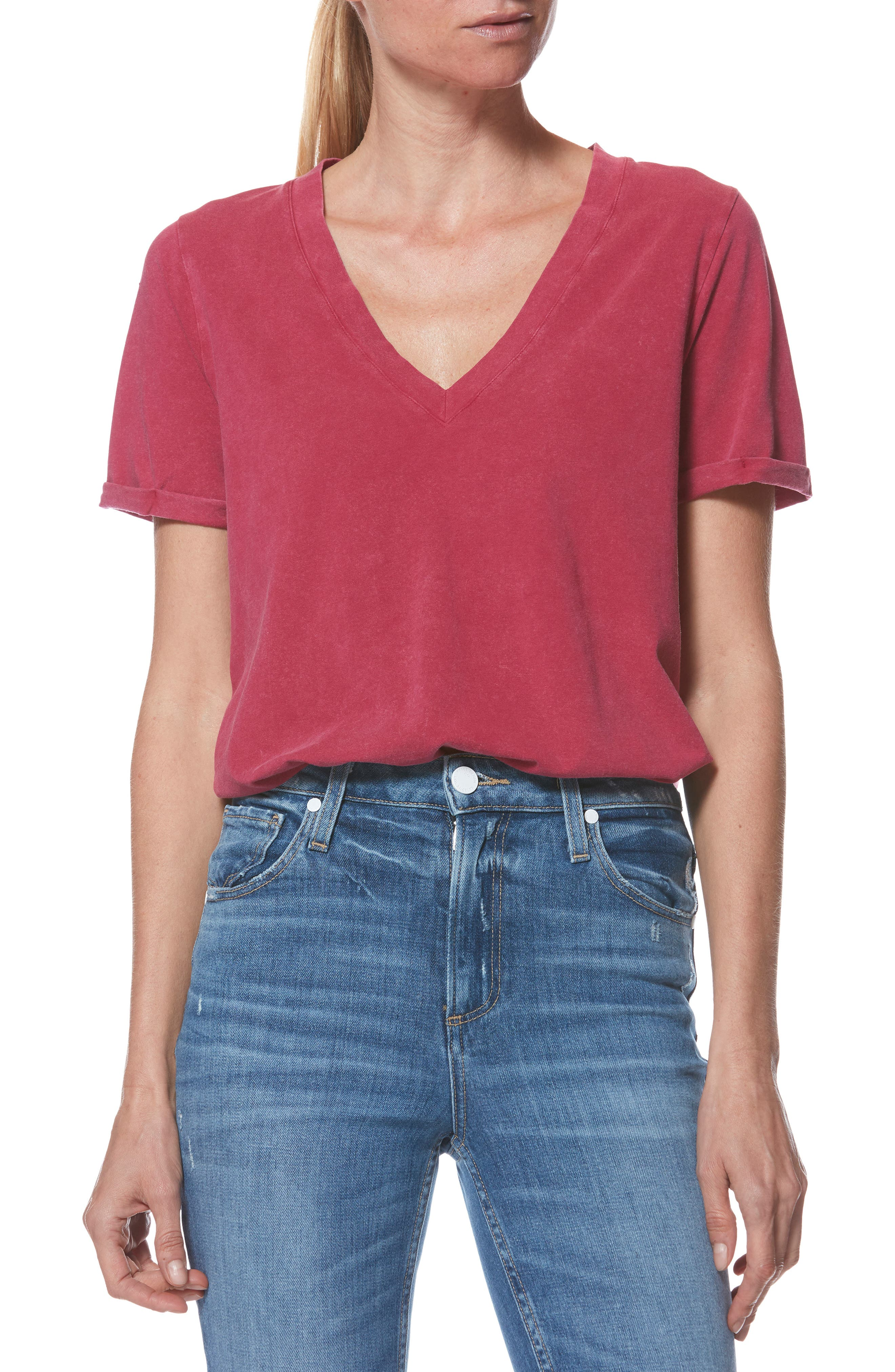 Arielle V-Neck Tee,                             Main thumbnail 1, color,                             VINTAGE CHERRY JUBELLE