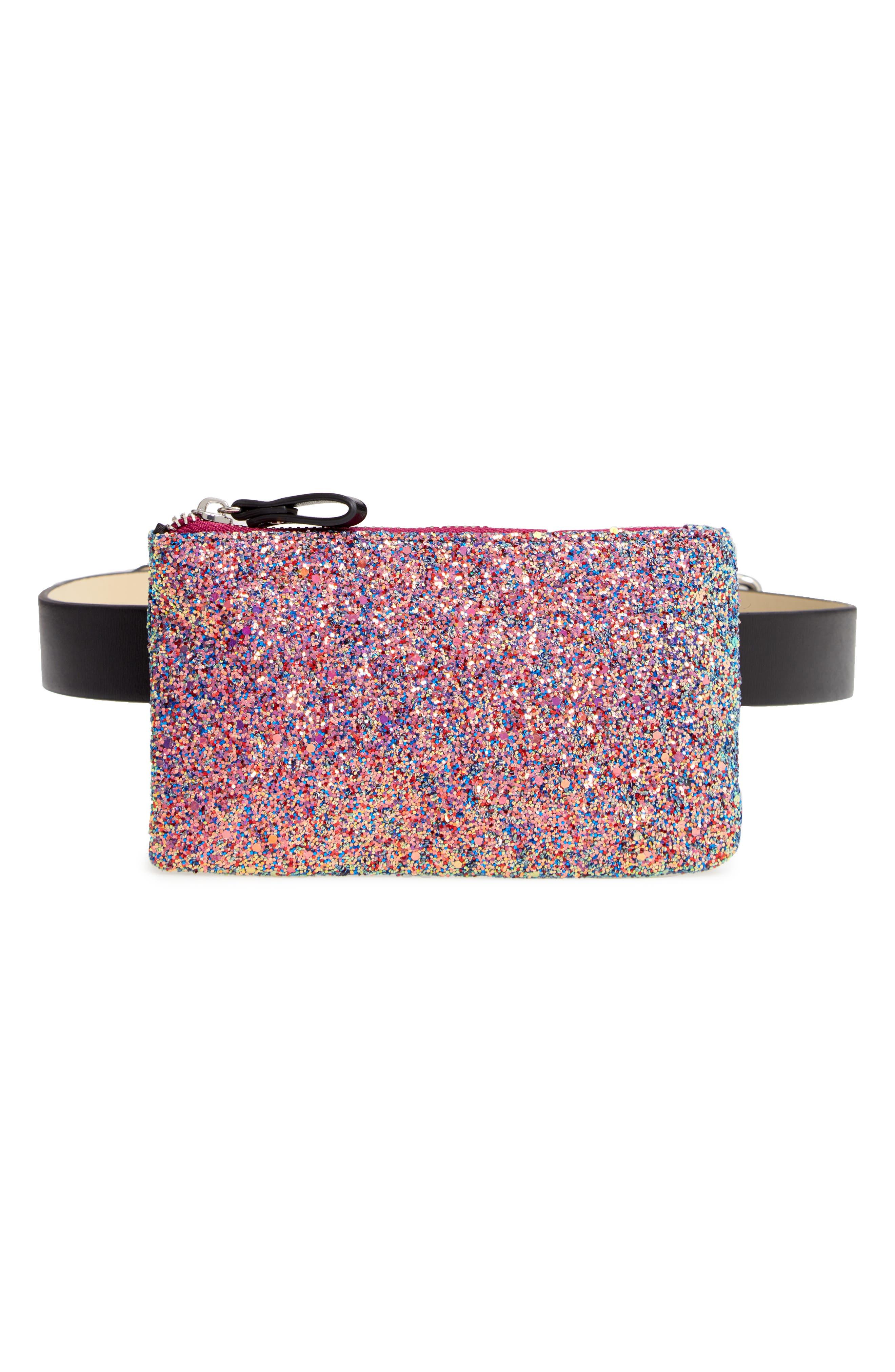 Glitter Belt Bag,                             Main thumbnail 1, color,                             PINK MULTI