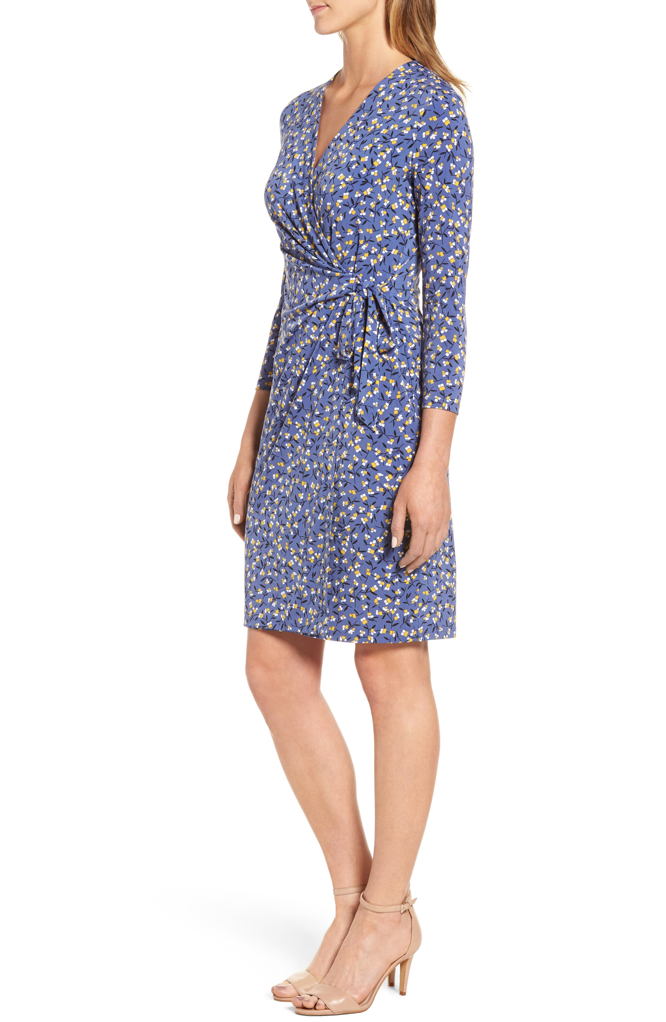 Dot Print Faux Wrap Dress,                             Alternate thumbnail 3, color,                             420