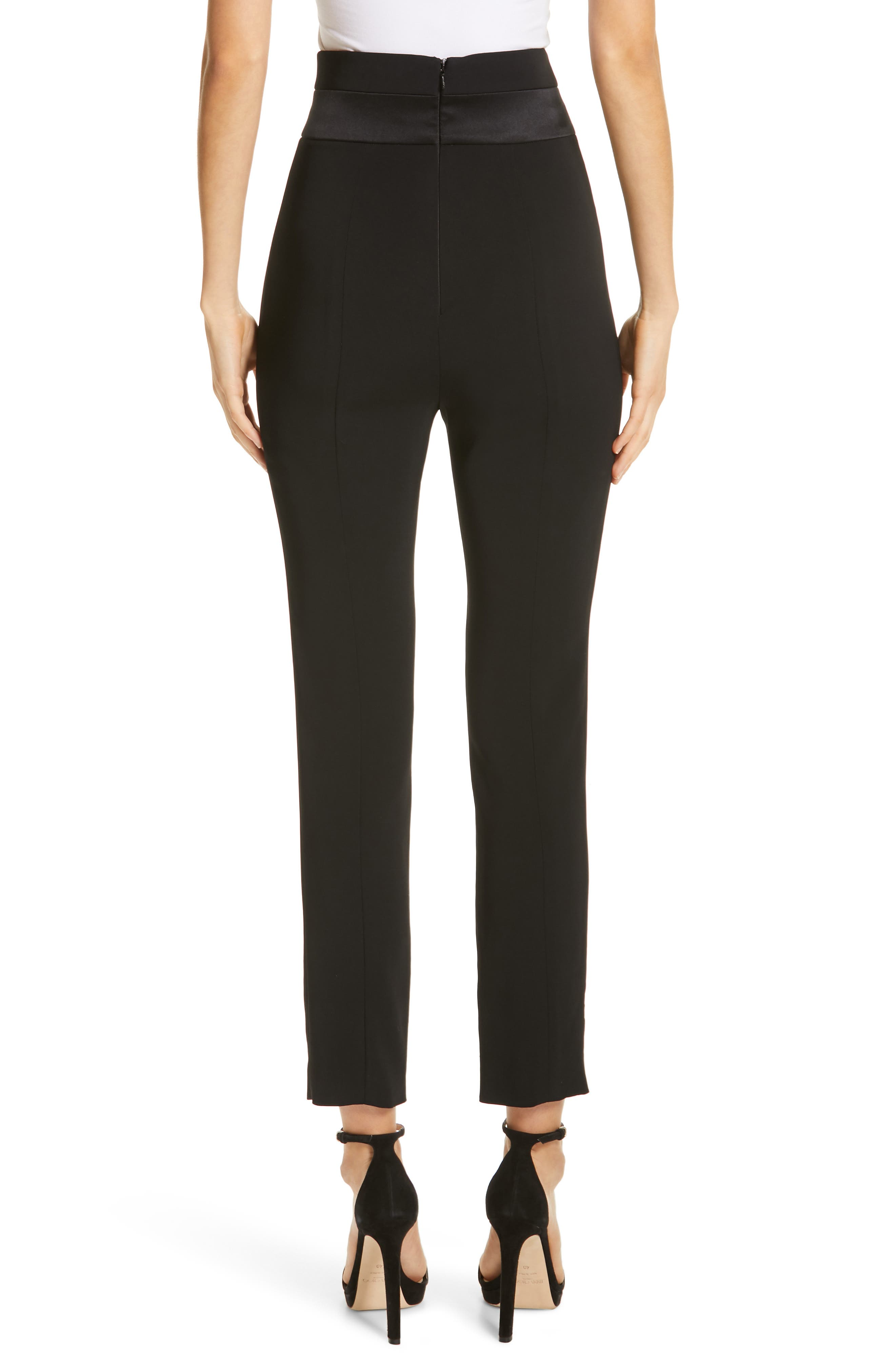 CUSHNIE,                             High Waist Crop Slim Pants,                             Alternate thumbnail 2, color,                             BLACK