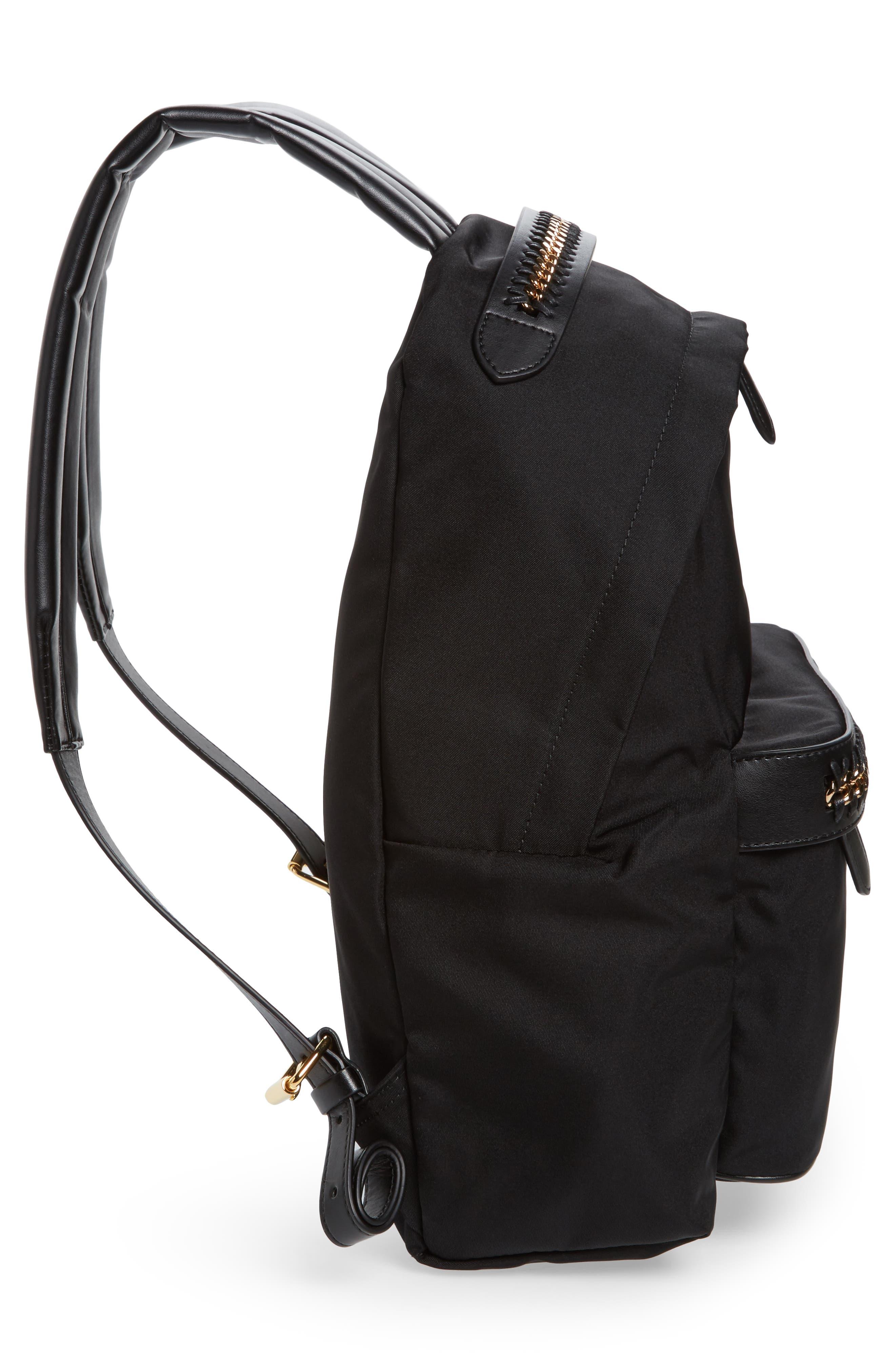 Falabella Nylon Backpack,                             Alternate thumbnail 5, color,                             BLACK