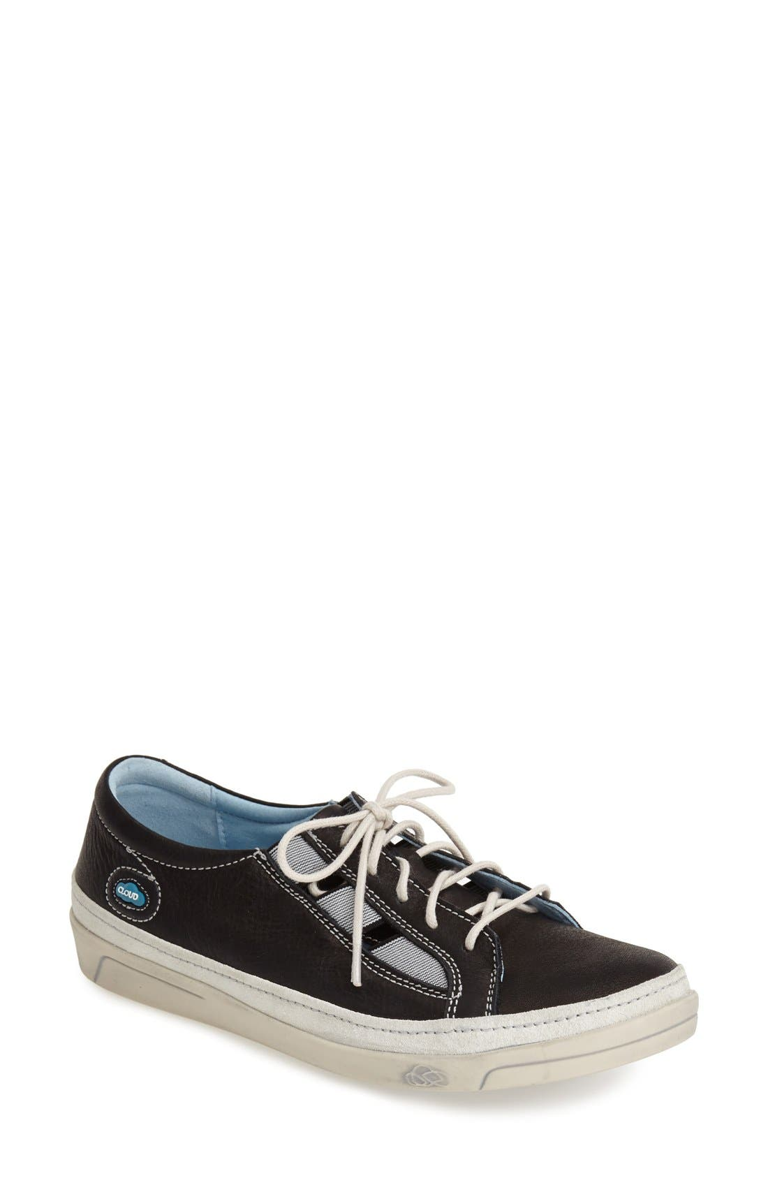 'Amazonas' Leather Sneaker,                             Main thumbnail 1, color,                             BLACK