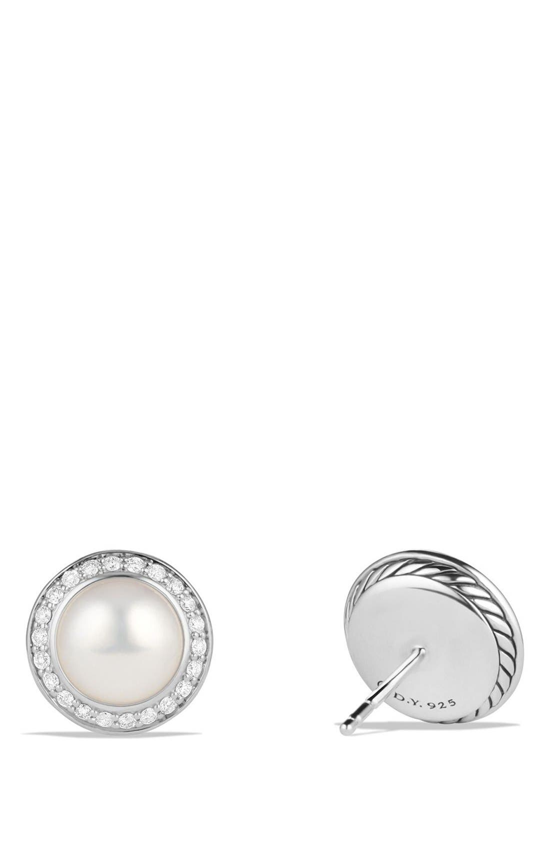 'Cerise' Petite Earrings with Pearls and Diamonds,                             Alternate thumbnail 3, color,                             SILVER/ PEARL