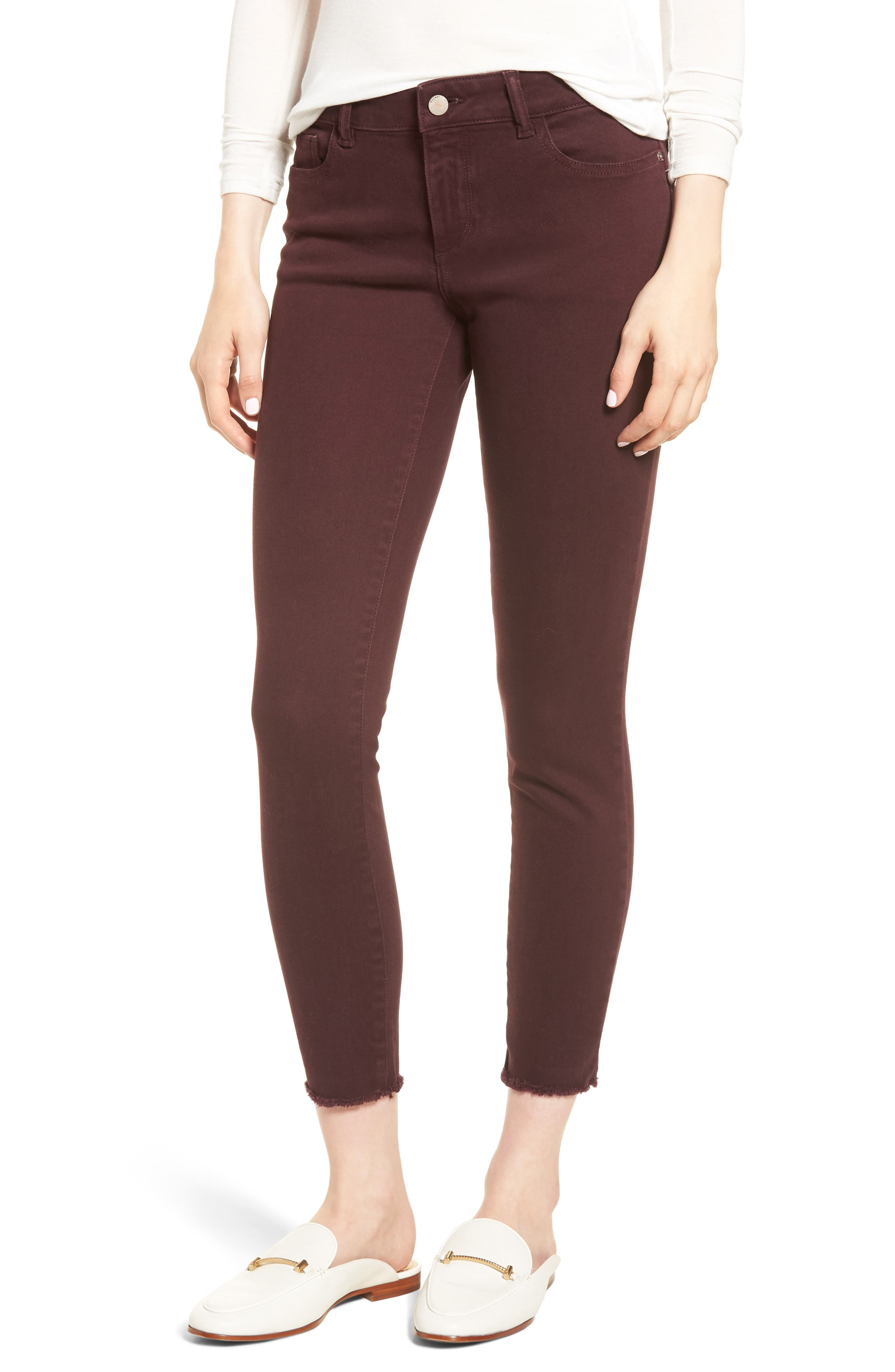 Margaux Instasculpt Ankle Skinny Jeans,                             Main thumbnail 1, color,                             DEEP BURGUNDY