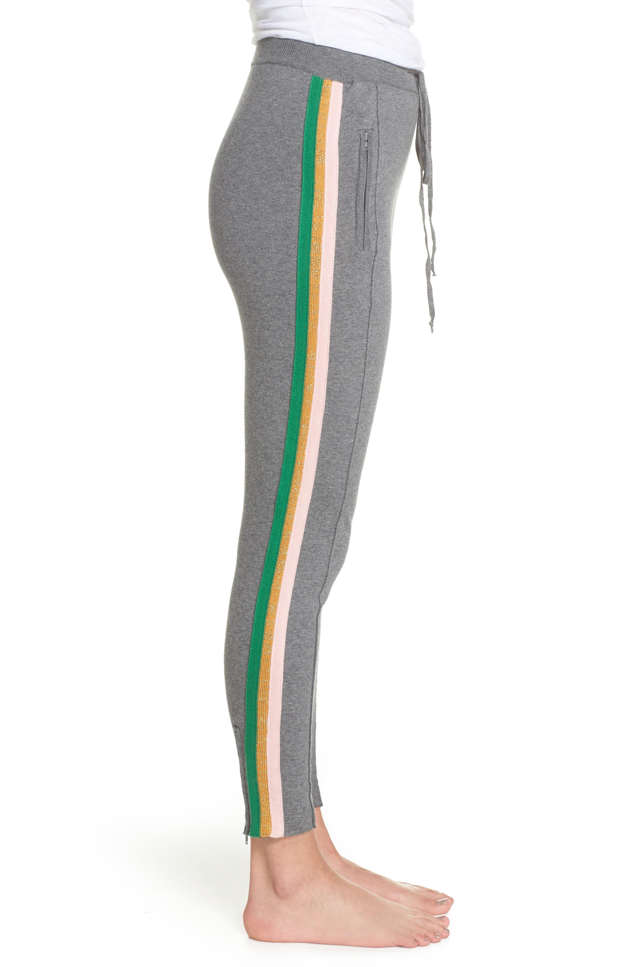 Rainbow Stripe Crop Sweatpants,                             Alternate thumbnail 3, color,