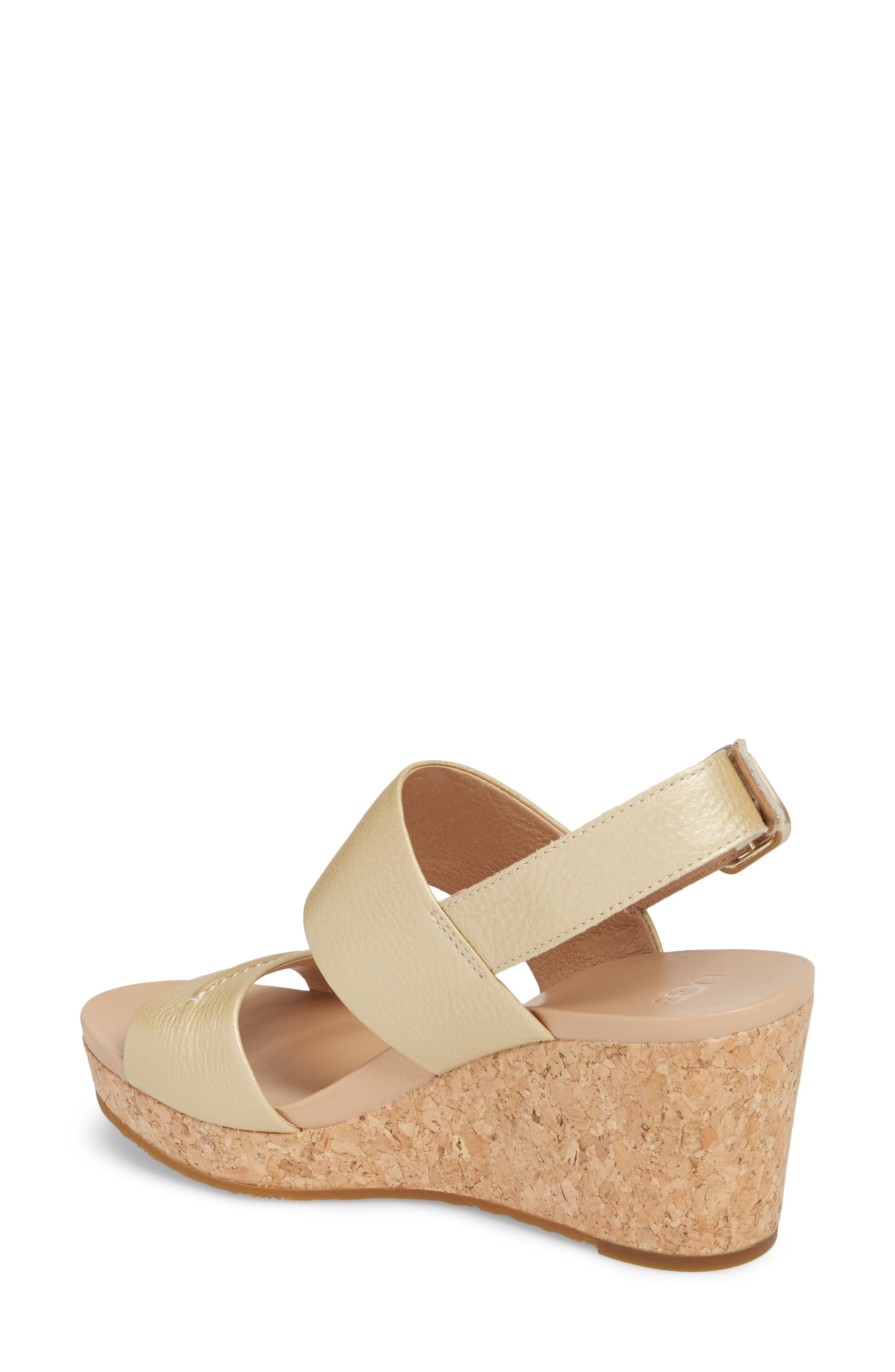 UGG<SUP>®</SUP>,                             Elena II Metallic Platform Wedge Sandal,                             Alternate thumbnail 2, color,                             710