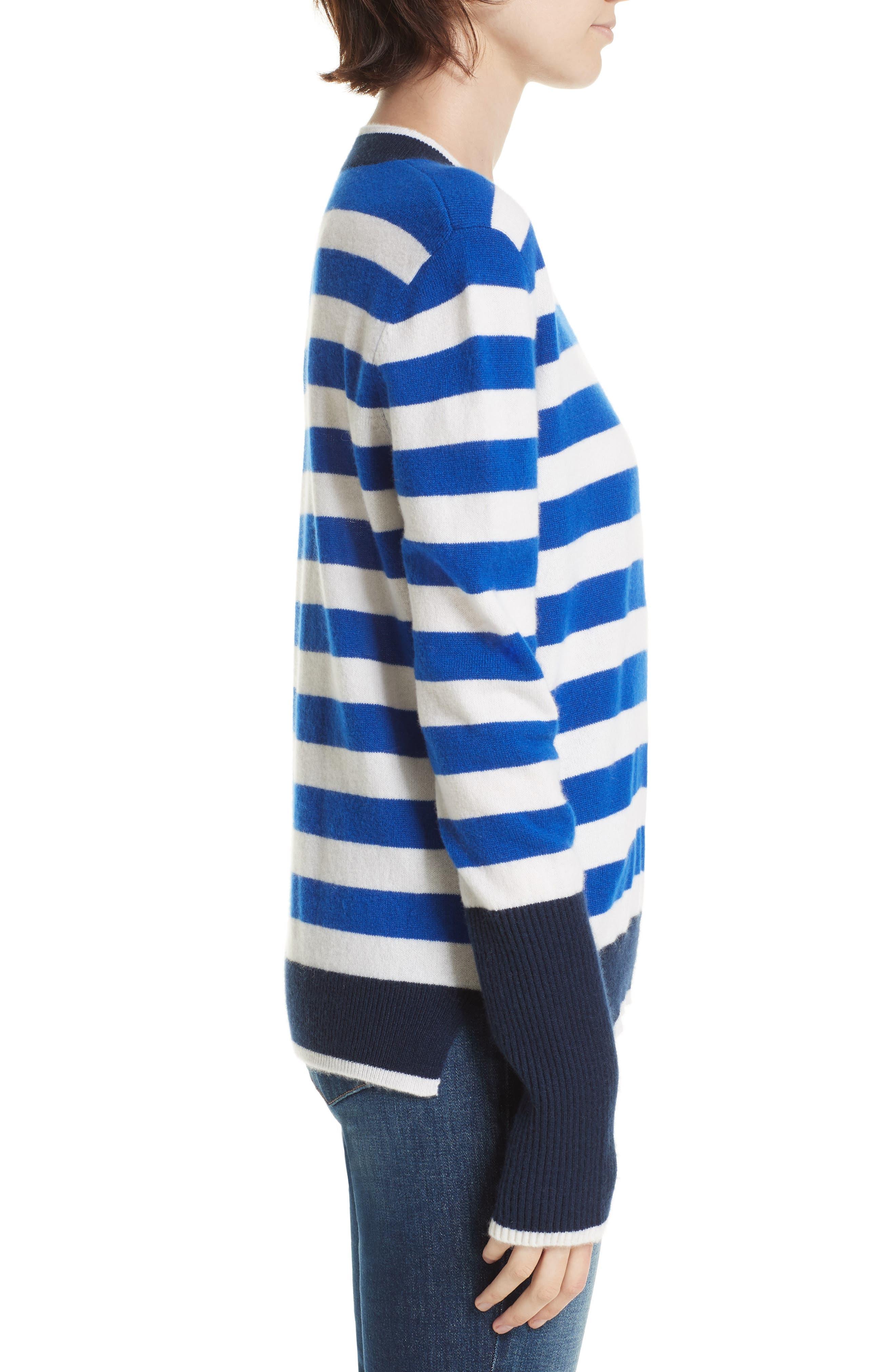 L'Universite Cashmere Sweater,                             Alternate thumbnail 3, color,                             BRIGHT BLUE/ CREAM/ NAVY