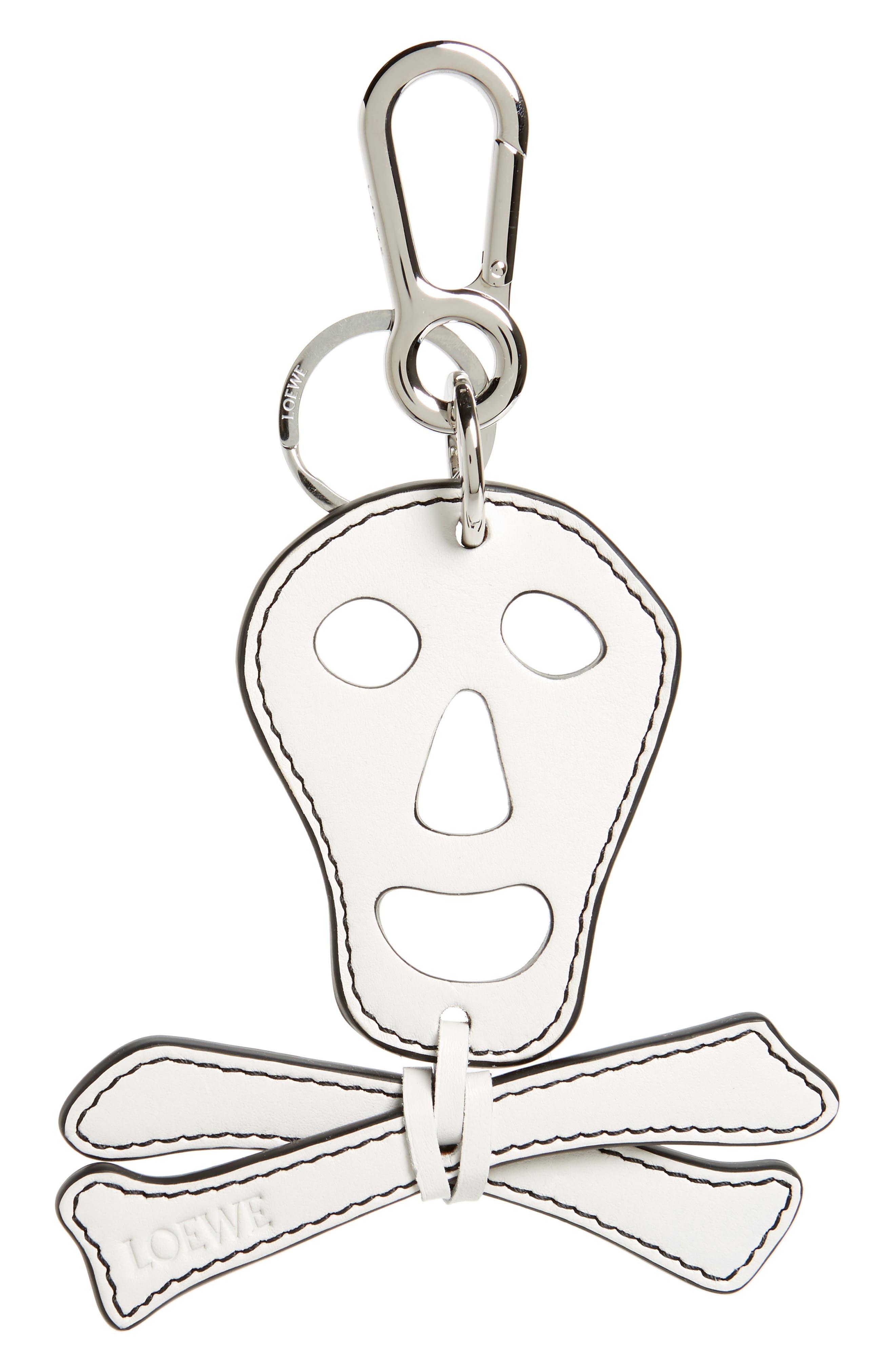 Leather Skull Key Chain,                             Main thumbnail 1, color,                             115