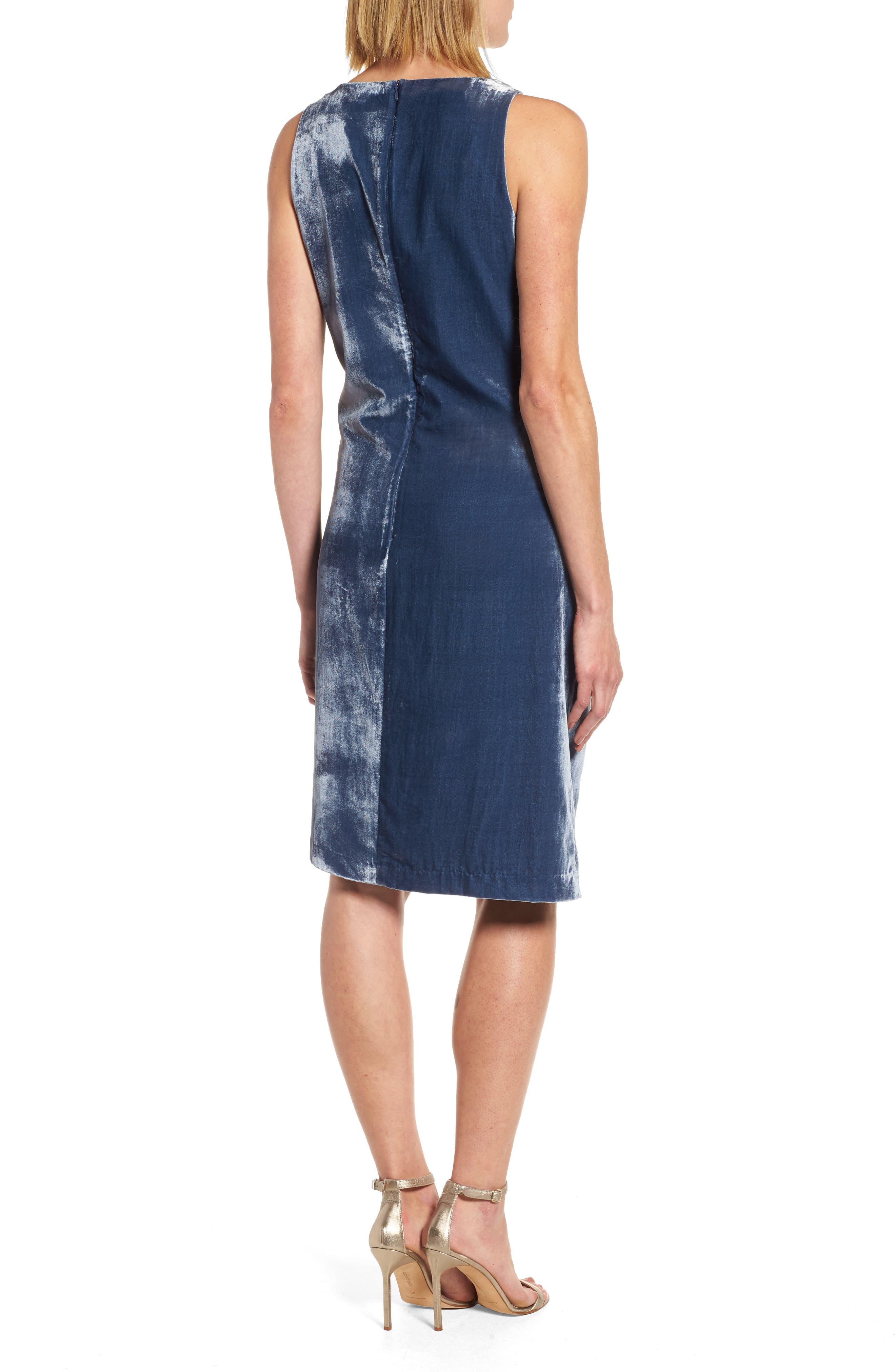 Kenneth Cole Twisted Faux Wrap Velvet Dress,                             Alternate thumbnail 2, color,
